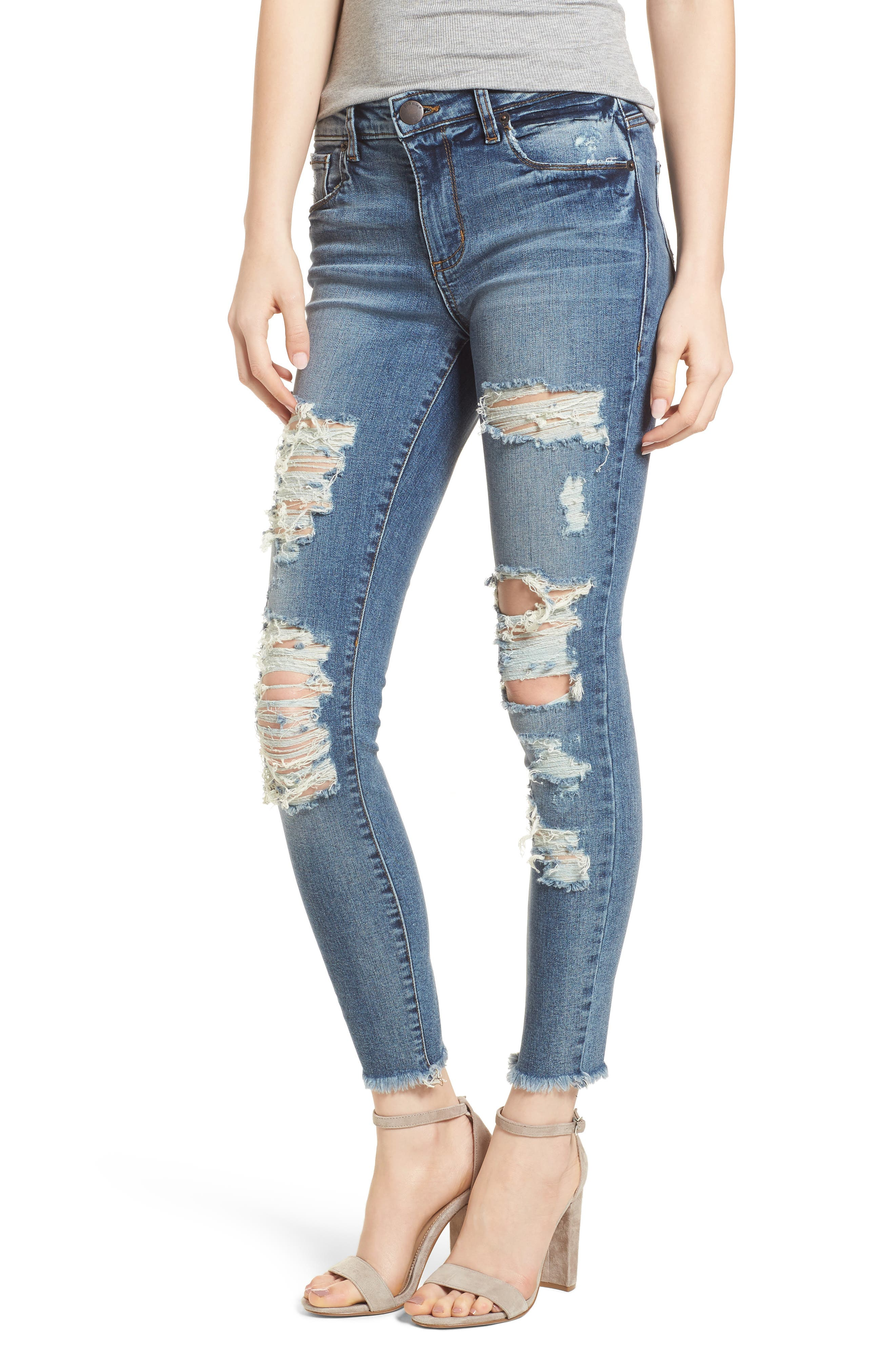 Emma Fray Hem Ripped Ankle Jeans,                             Main thumbnail 1, color,                             400