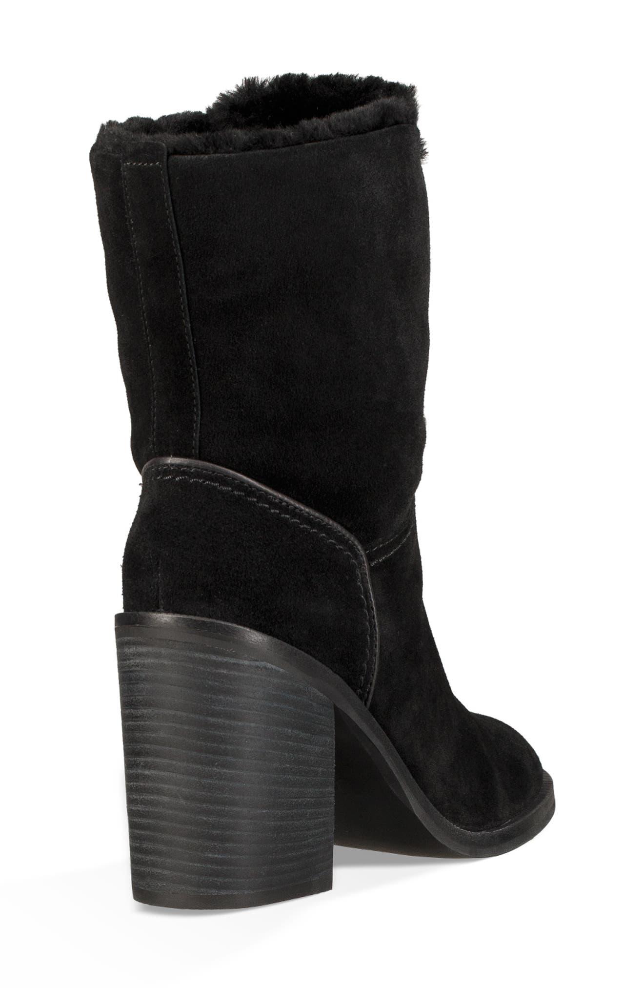 Jerene Genuine Shearling Boot,                             Alternate thumbnail 3, color,                             BLACK