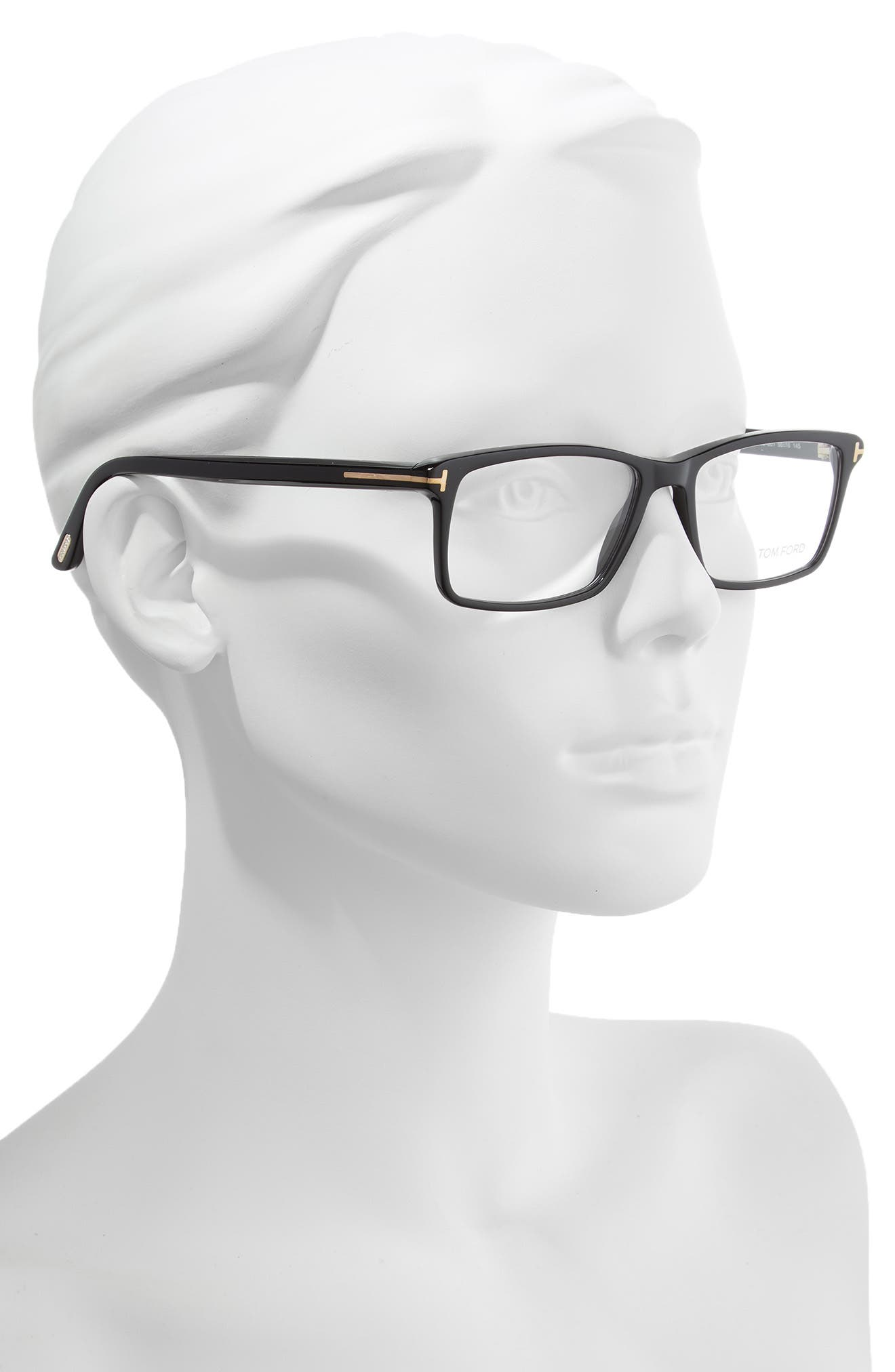 56mm Rectangle Optical Glasses,                             Alternate thumbnail 2, color,                             SHINY BLACK/ SHINY ROSE GOLD