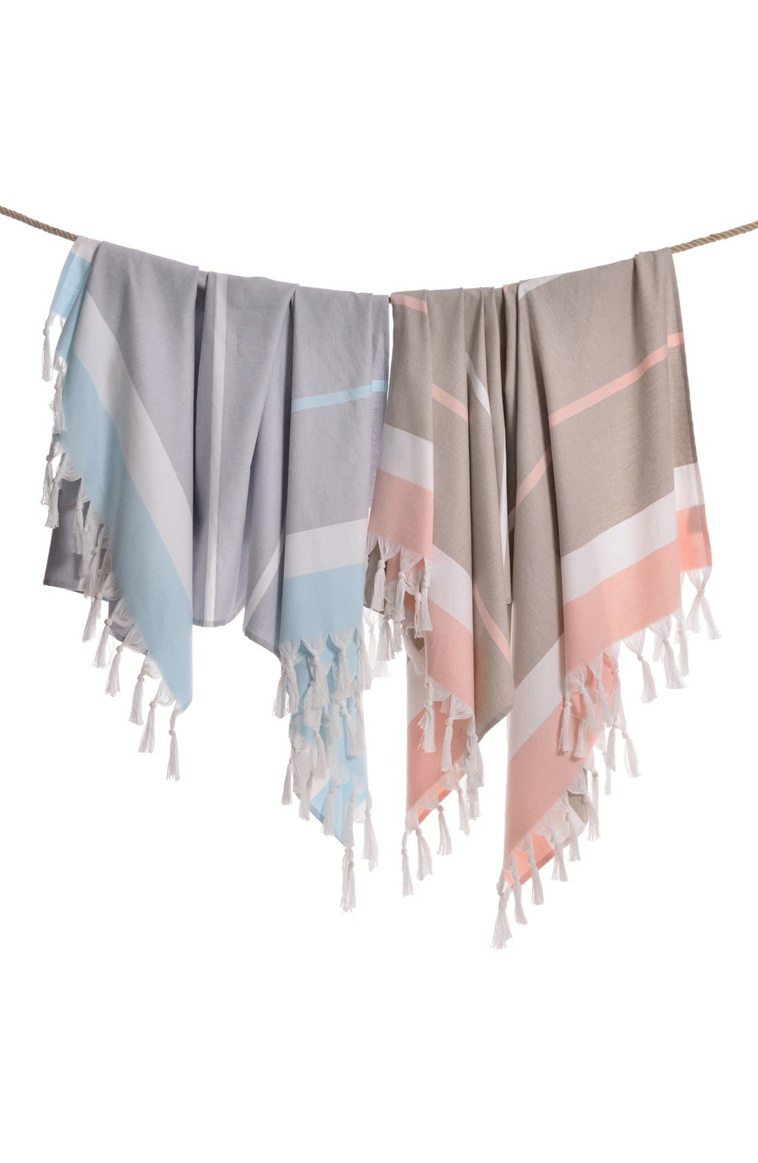 'Seaside Fun' Turkish Pestemal Towel,                             Alternate thumbnail 4, color,                             GREY