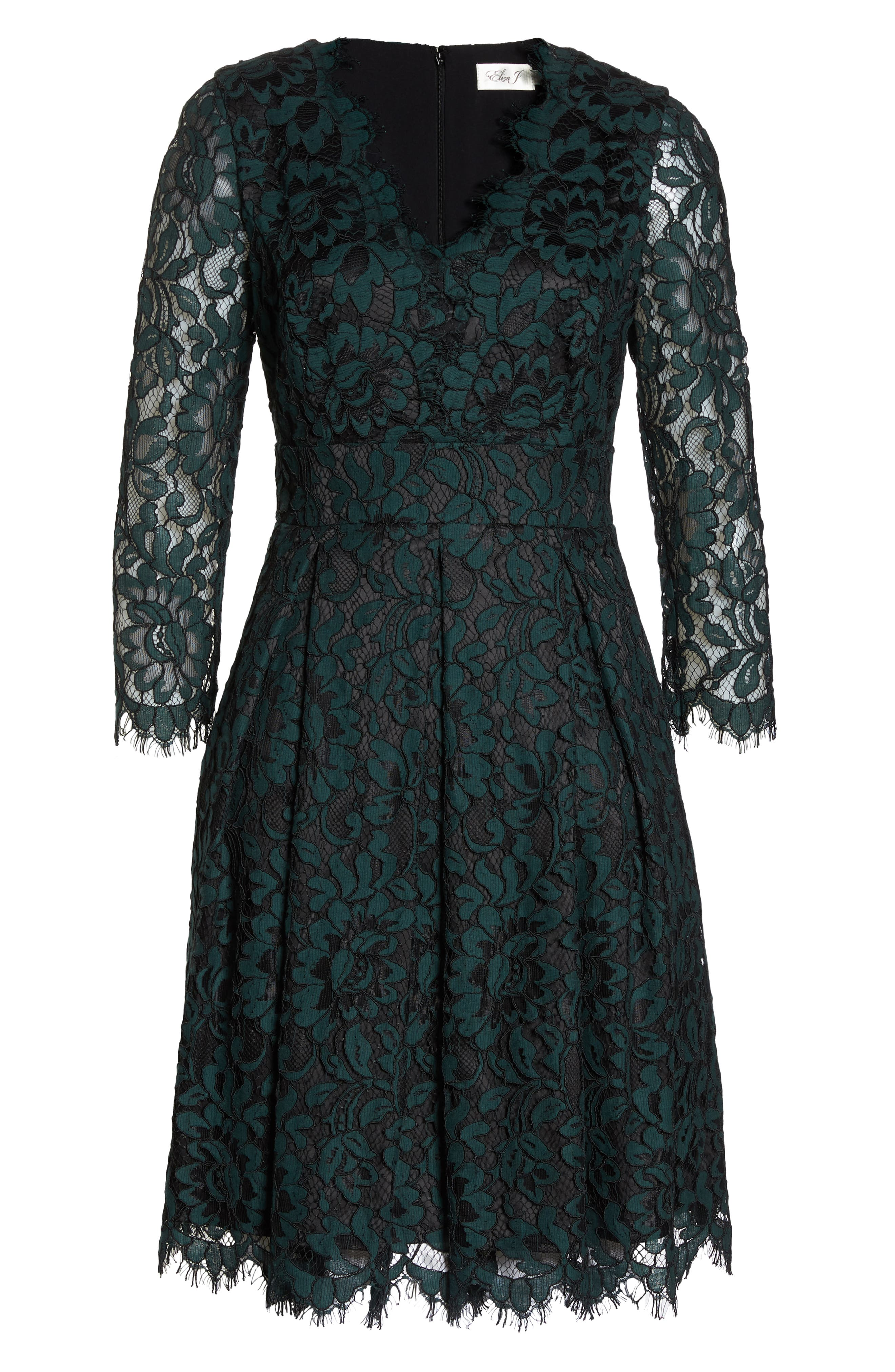 Lace V-Neck Fit & Flare Dress,                             Alternate thumbnail 7, color,                             GREEN