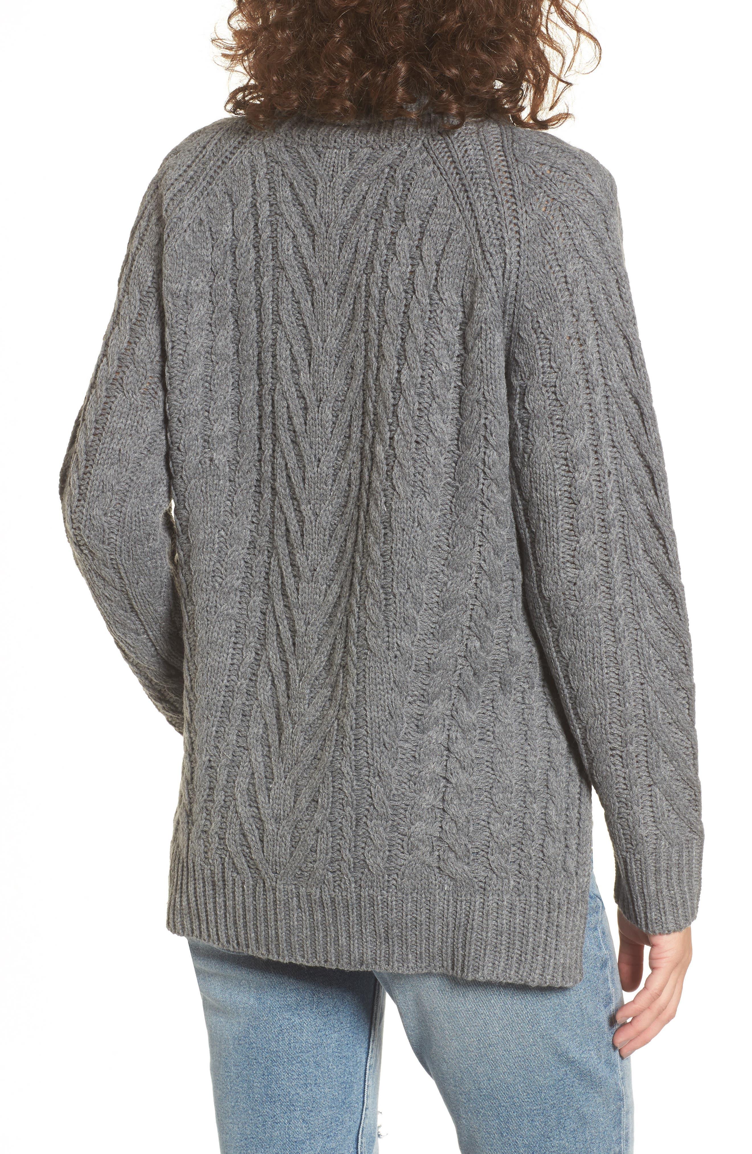 Cable Knit Turtleneck Sweater,                             Alternate thumbnail 2, color,                             020