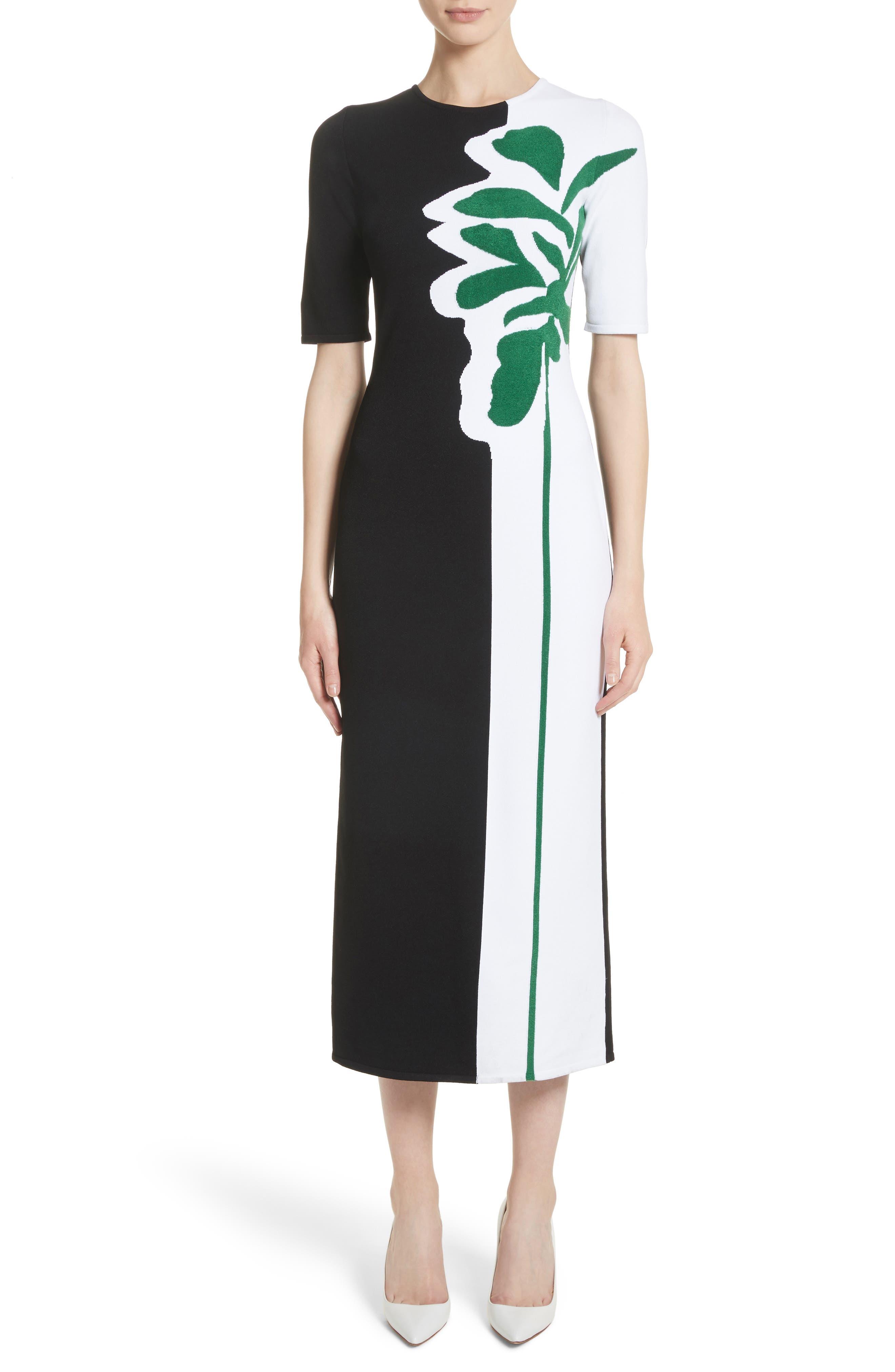 Intarsia Leaf Print Dress,                             Main thumbnail 1, color,
