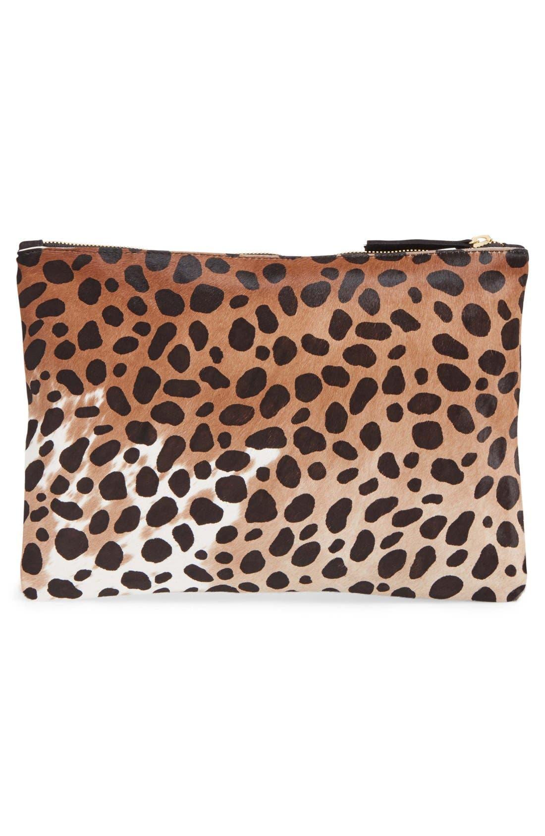 Genuine Calf Hair Leopard Print Zip Clutch,                             Alternate thumbnail 3, color,                             250