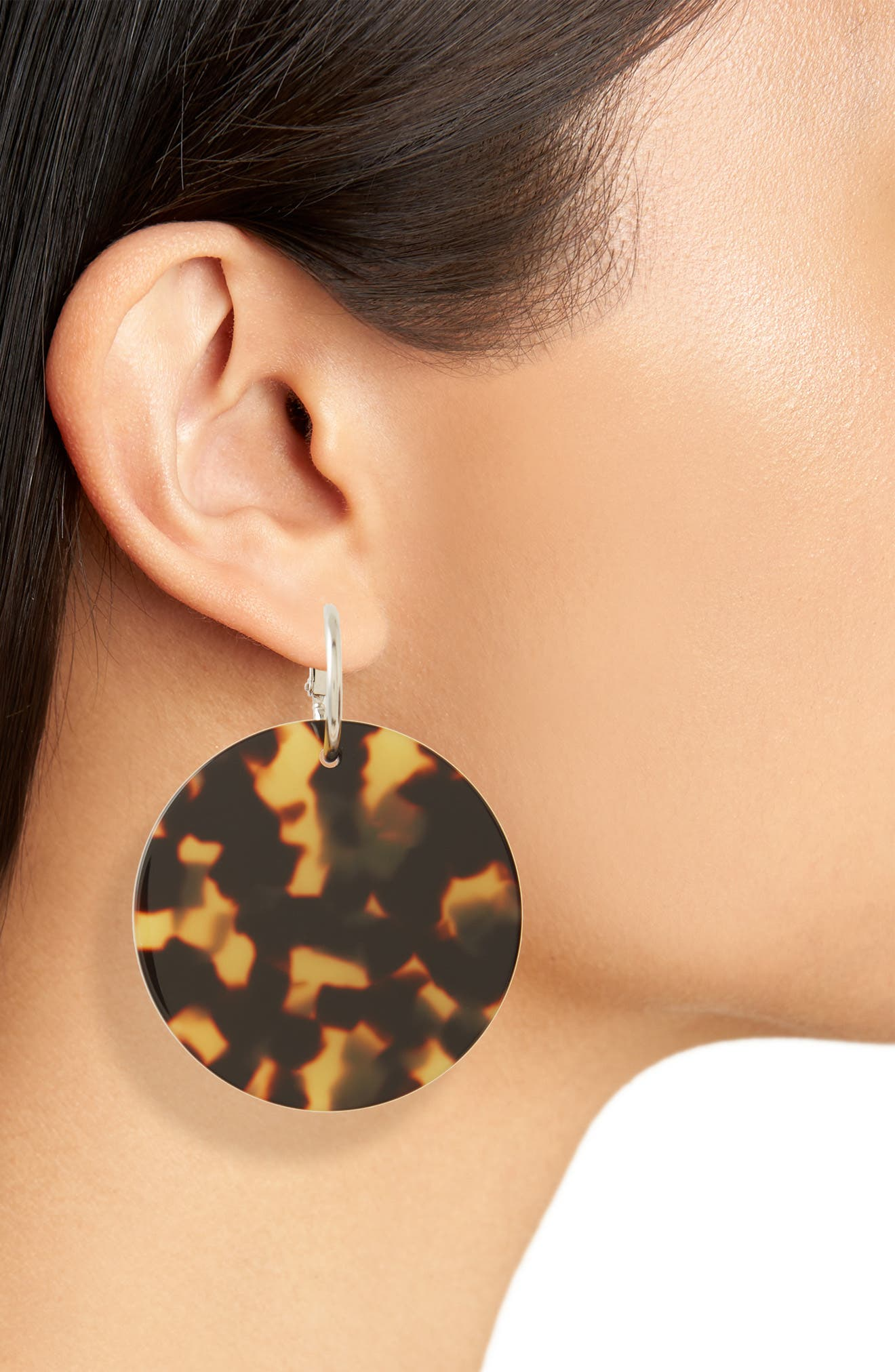 Masha Disc Drop Earrings,                             Alternate thumbnail 2, color,                             TORTOISE