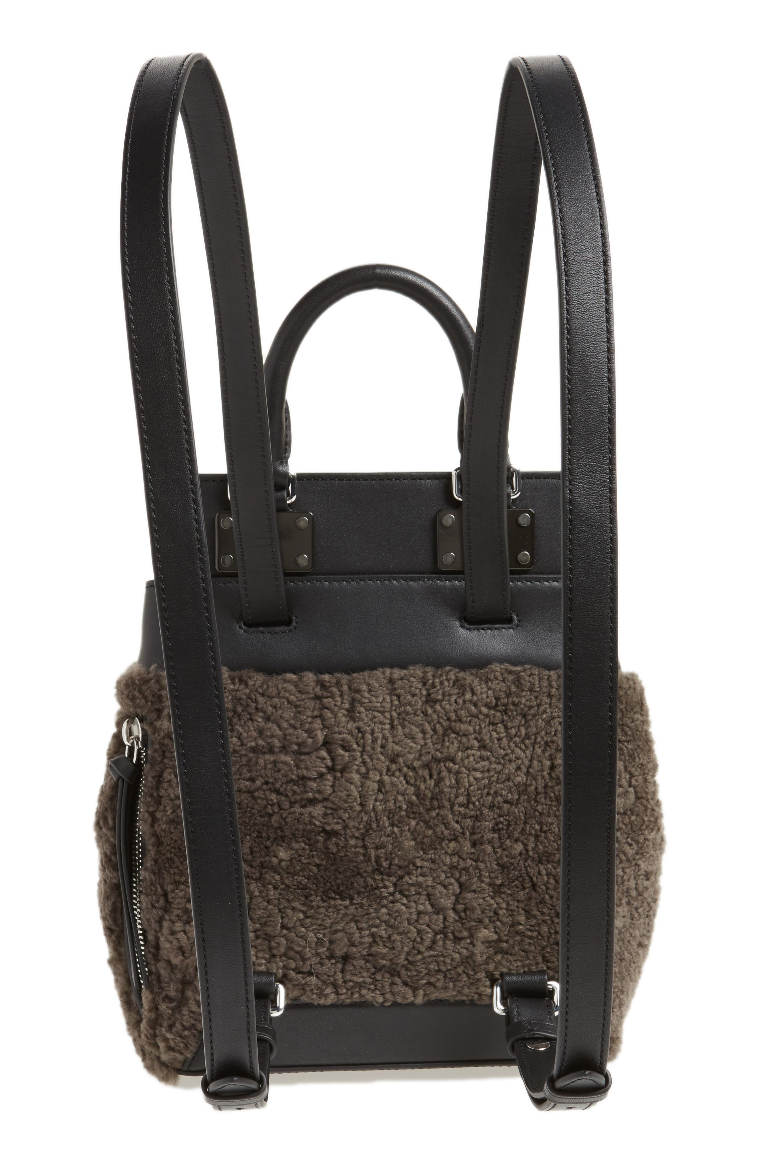 Small Pilot Leather & Genuine Shearling Backpack,                             Alternate thumbnail 3, color,                             020