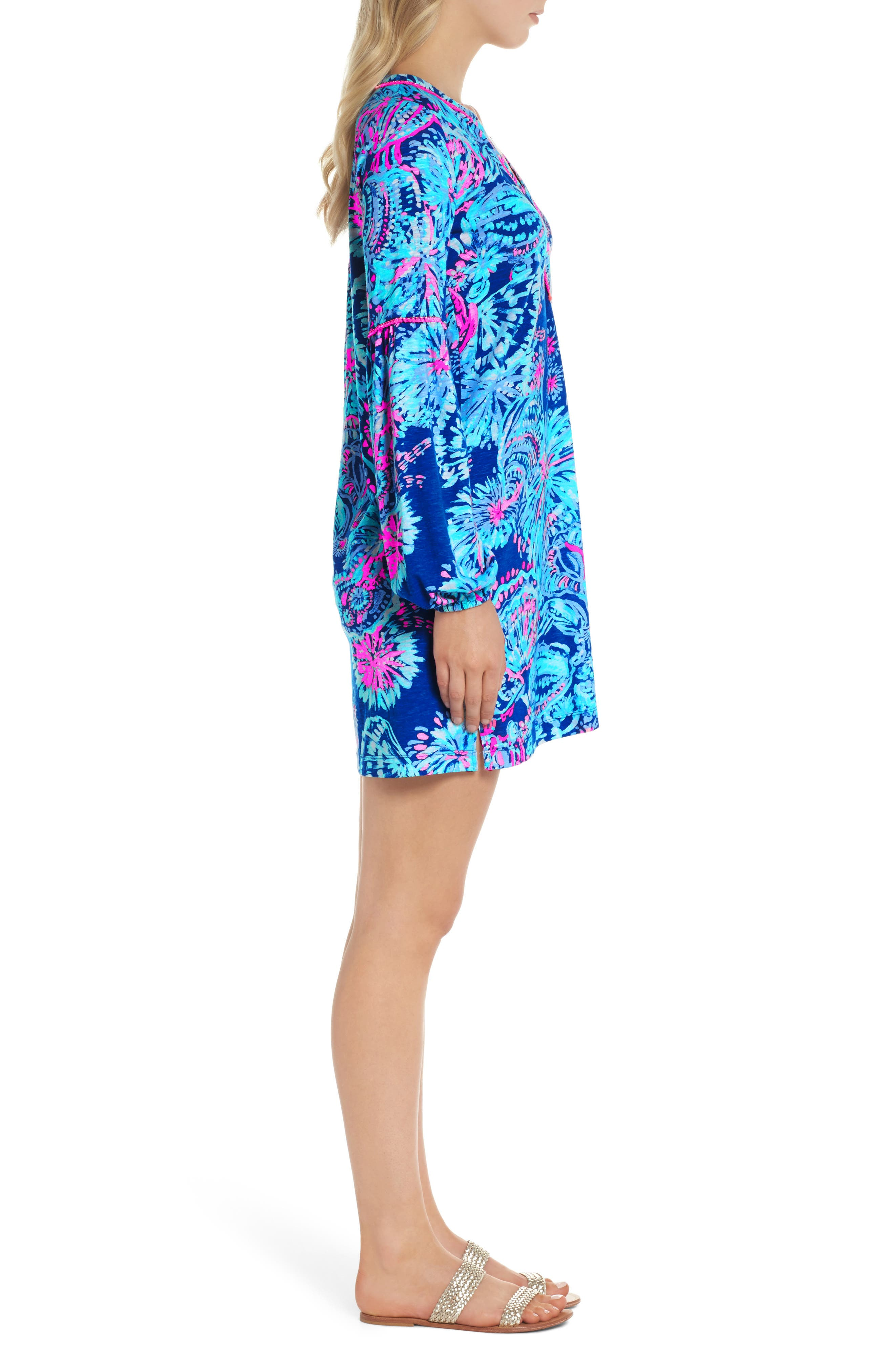 Joy Floral Print Shift Dress,                             Alternate thumbnail 3, color,                             400