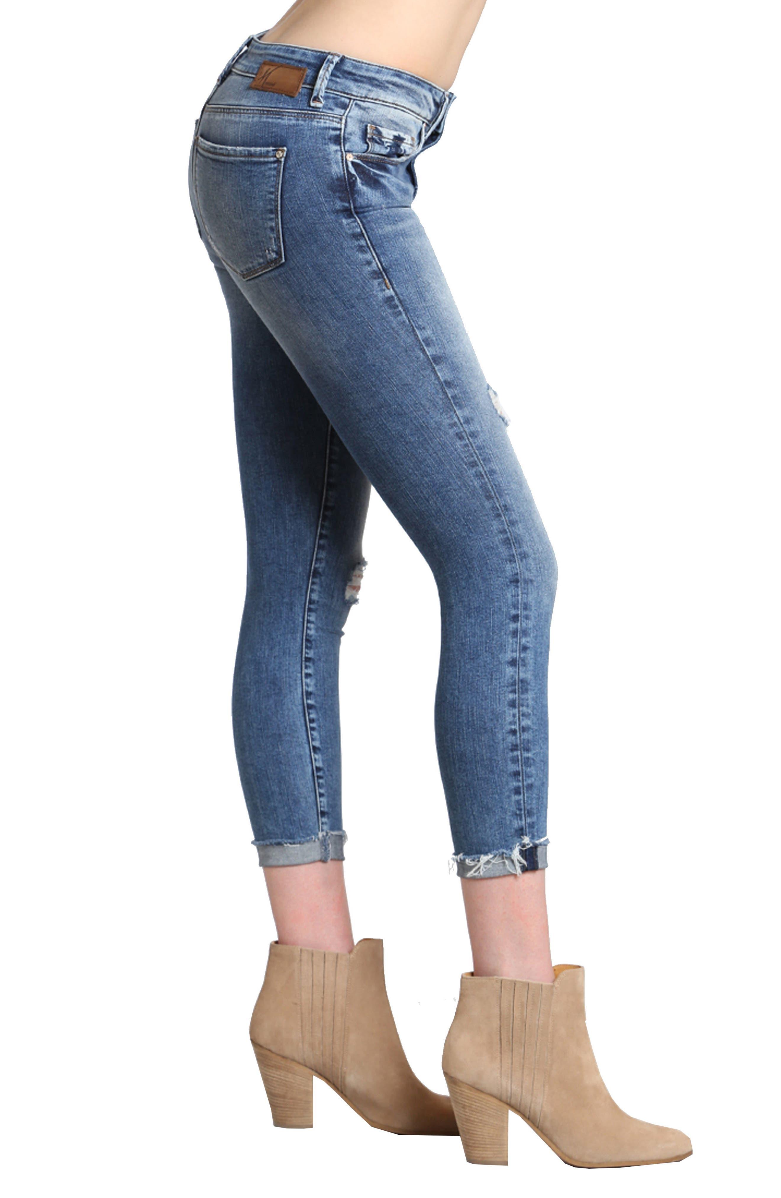 Tess Ripped Skinny Jeans,                             Alternate thumbnail 3, color,                             MID INDIGO VINTAGE