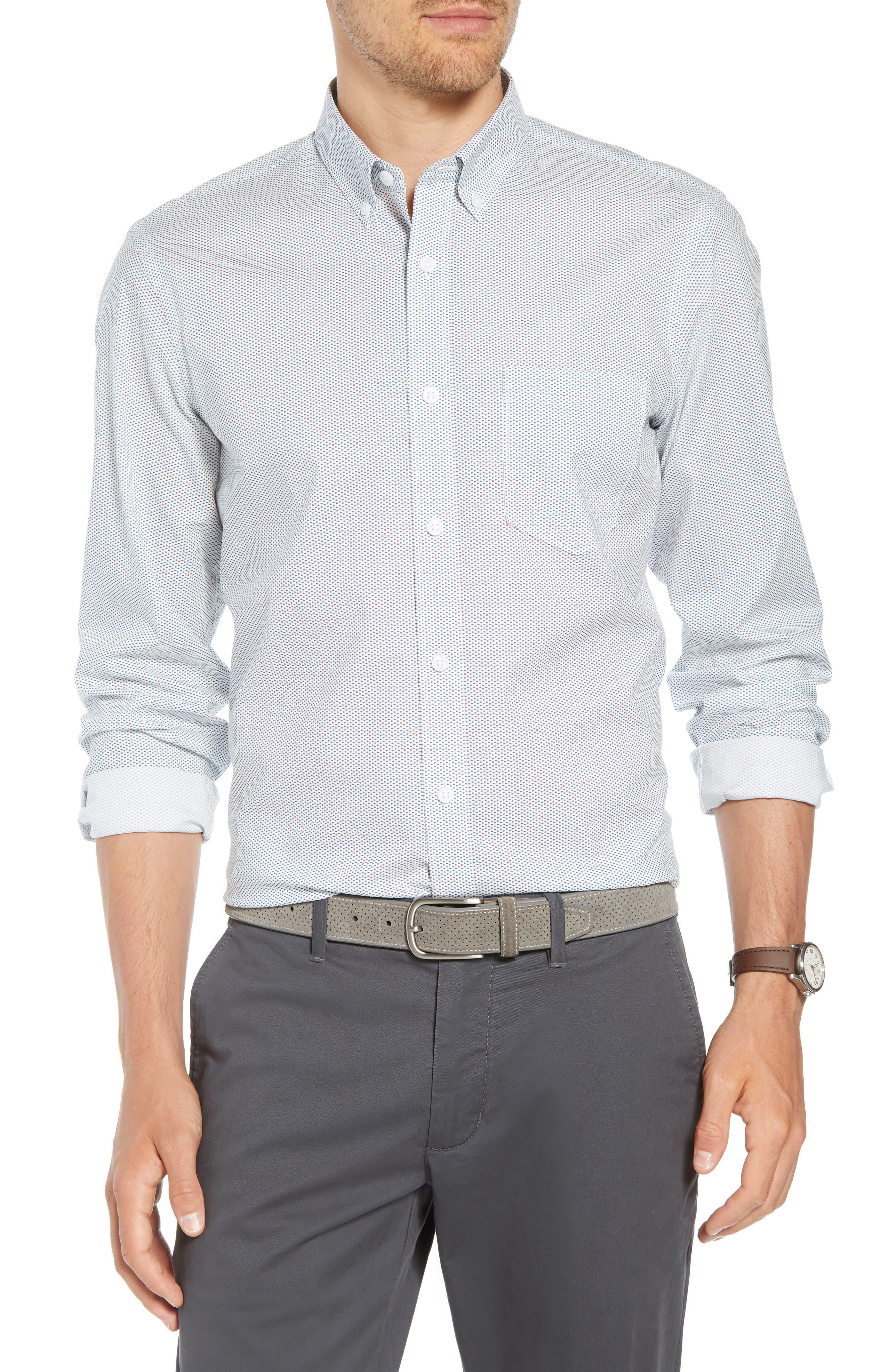 Trim Fit Multi Dot Sport Shirt,                         Main,                         color, 100