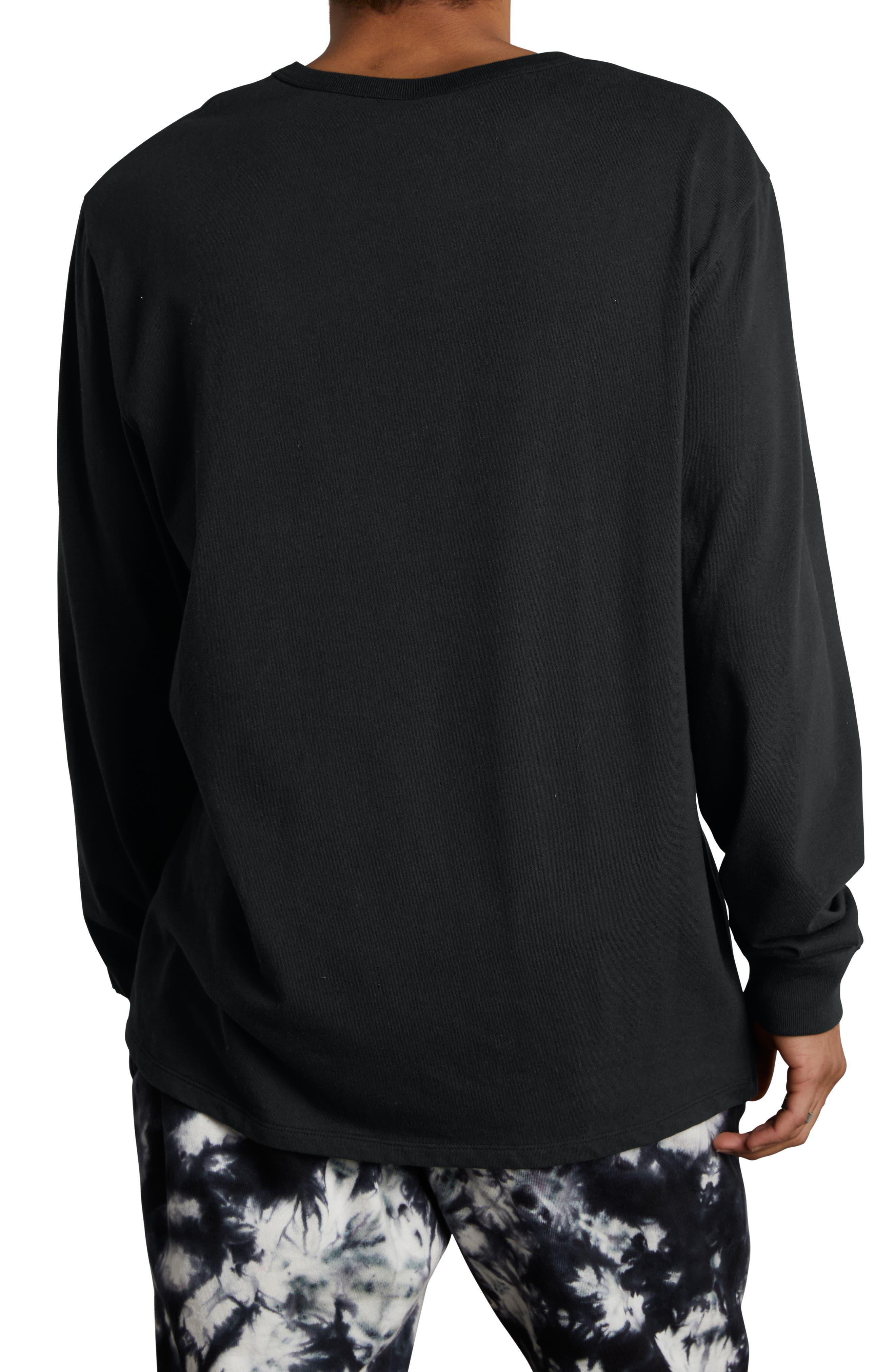 Gold Script Logo Long Sleeve T-Shirt,                             Alternate thumbnail 2, color,                             BLACK