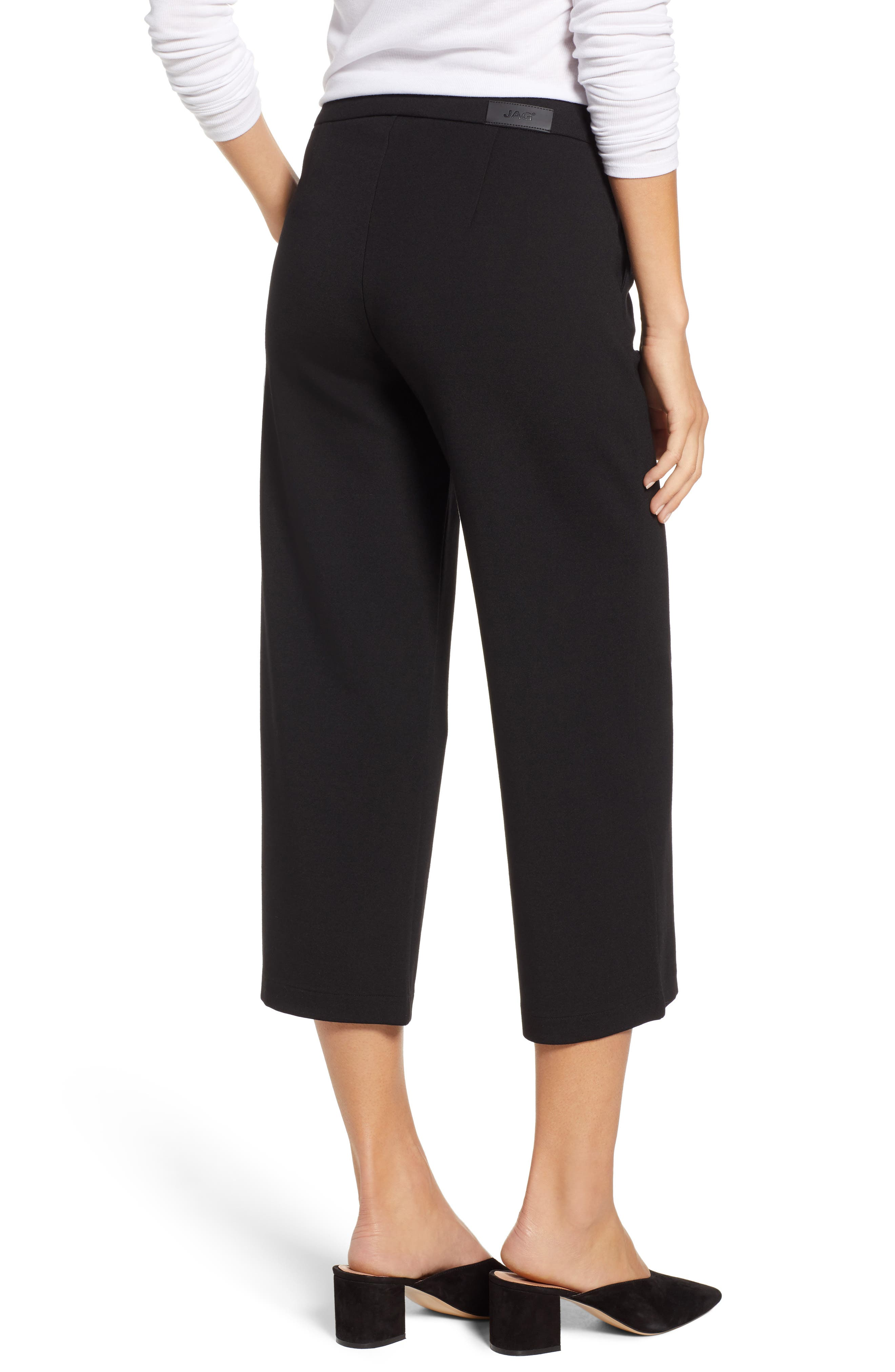 Blair Crop Wide Leg Ponte Pants,                             Alternate thumbnail 2, color,                             BLACK