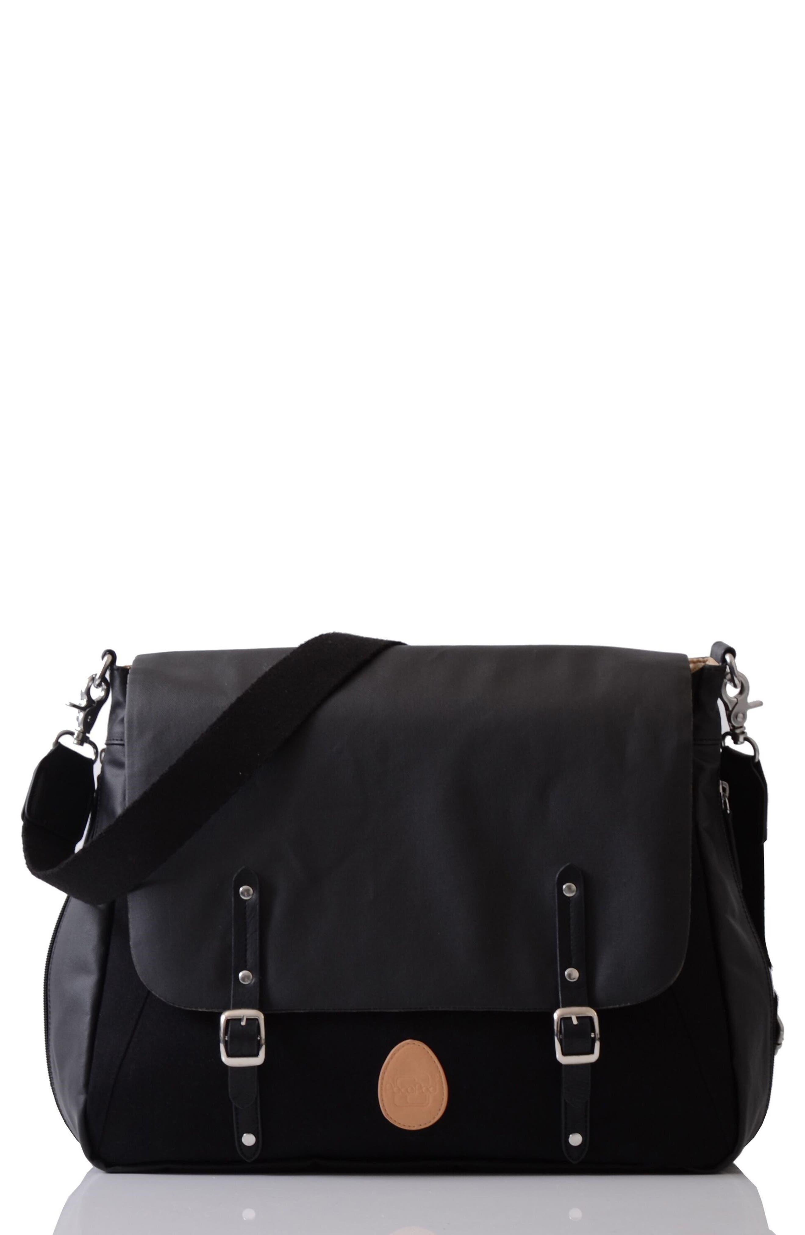 Prescott Coated Canvas Diaper Bag,                             Main thumbnail 1, color,                             BLACK