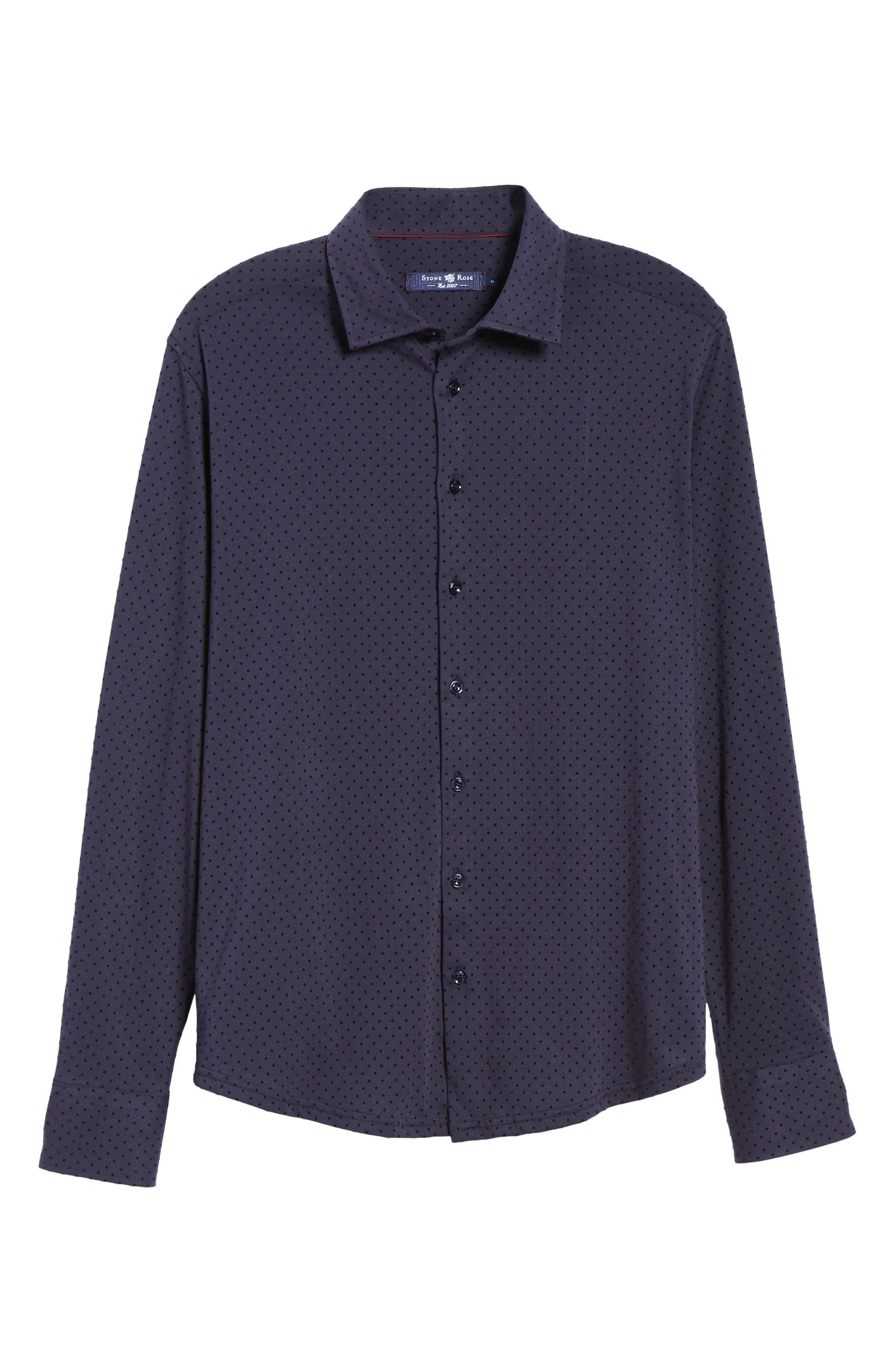 STONE ROSE,                             Regular Fit Knit Sport Shirt,                             Alternate thumbnail 5, color,                             NAVY