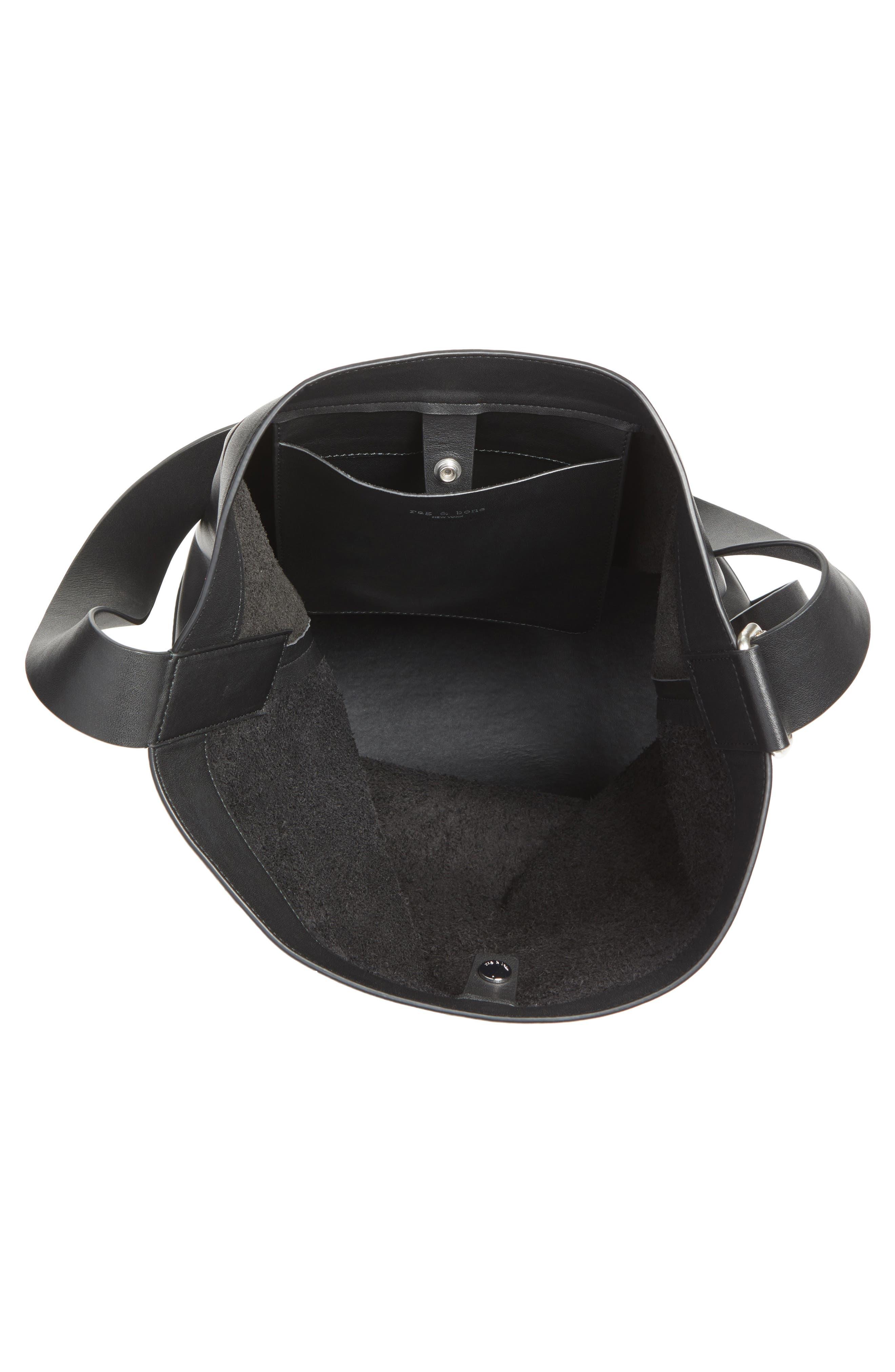 Walker Sling Leather Bucket Bag,                             Alternate thumbnail 3, color,                             001