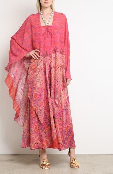 Beaded Halter Neck Silk Maxi Dress with Cape, video thumbnail