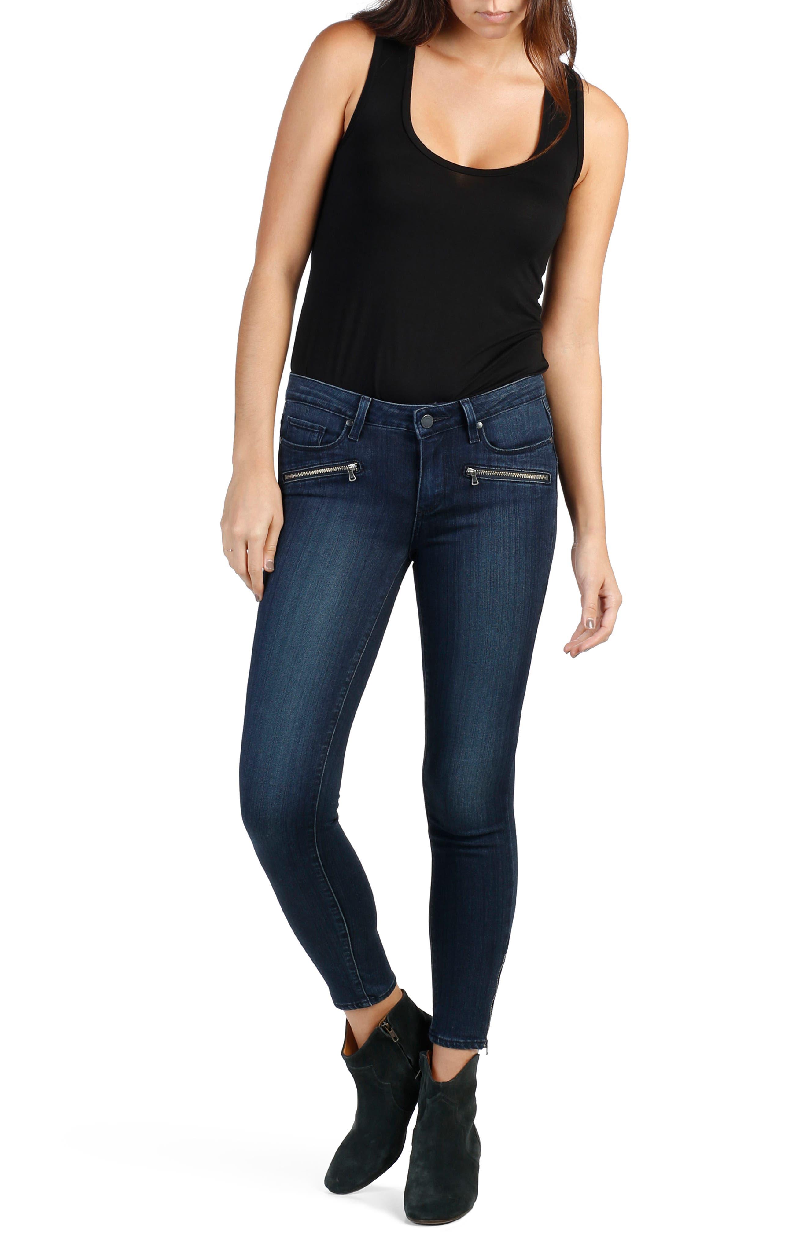 Transcend - Jane Zip Crop Skinny Jeans,                         Main,                         color, 400