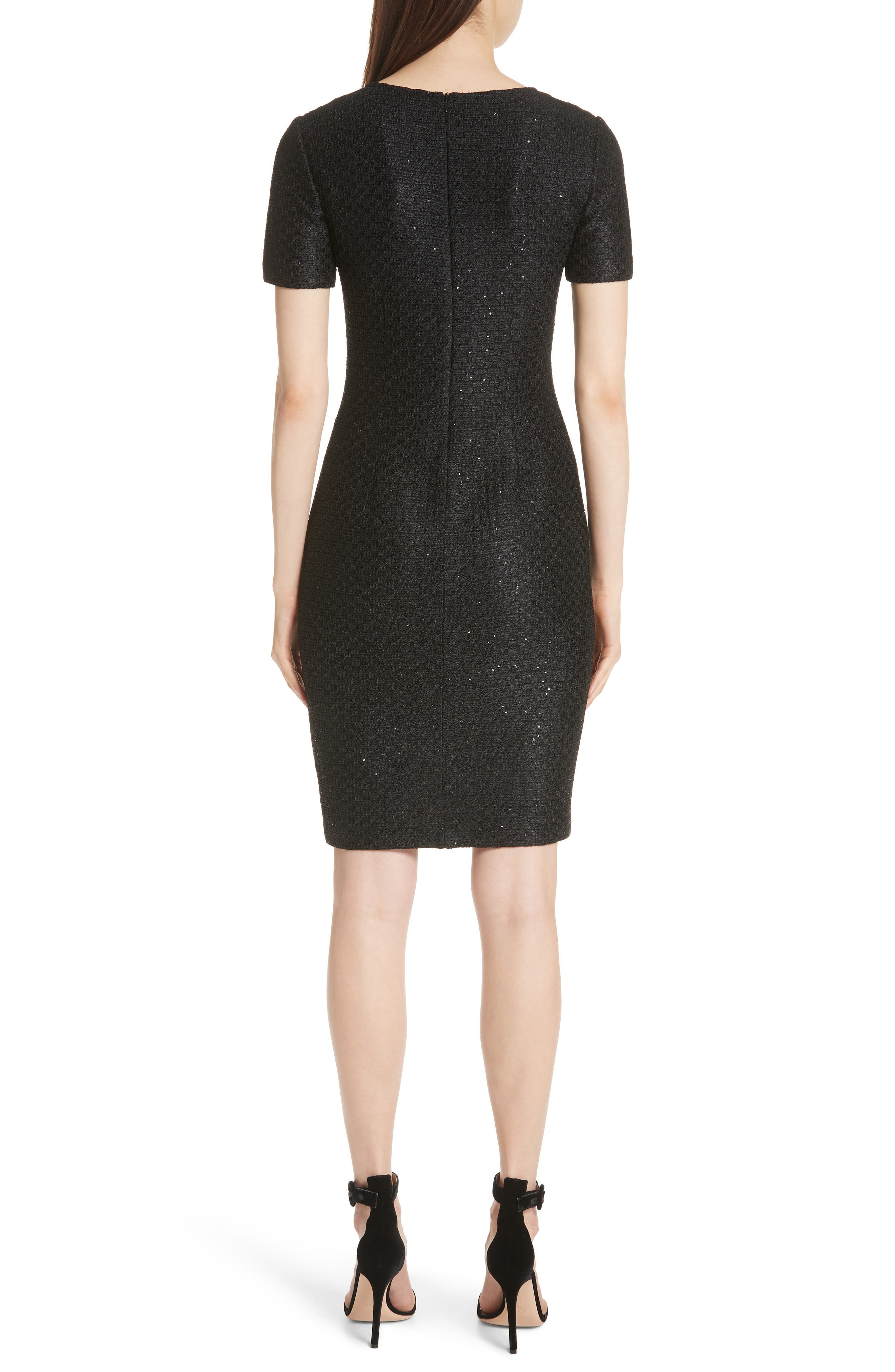 Shimmer Sequin Knit Asymmetrical Dress,                             Alternate thumbnail 2, color,                             CAVIAR