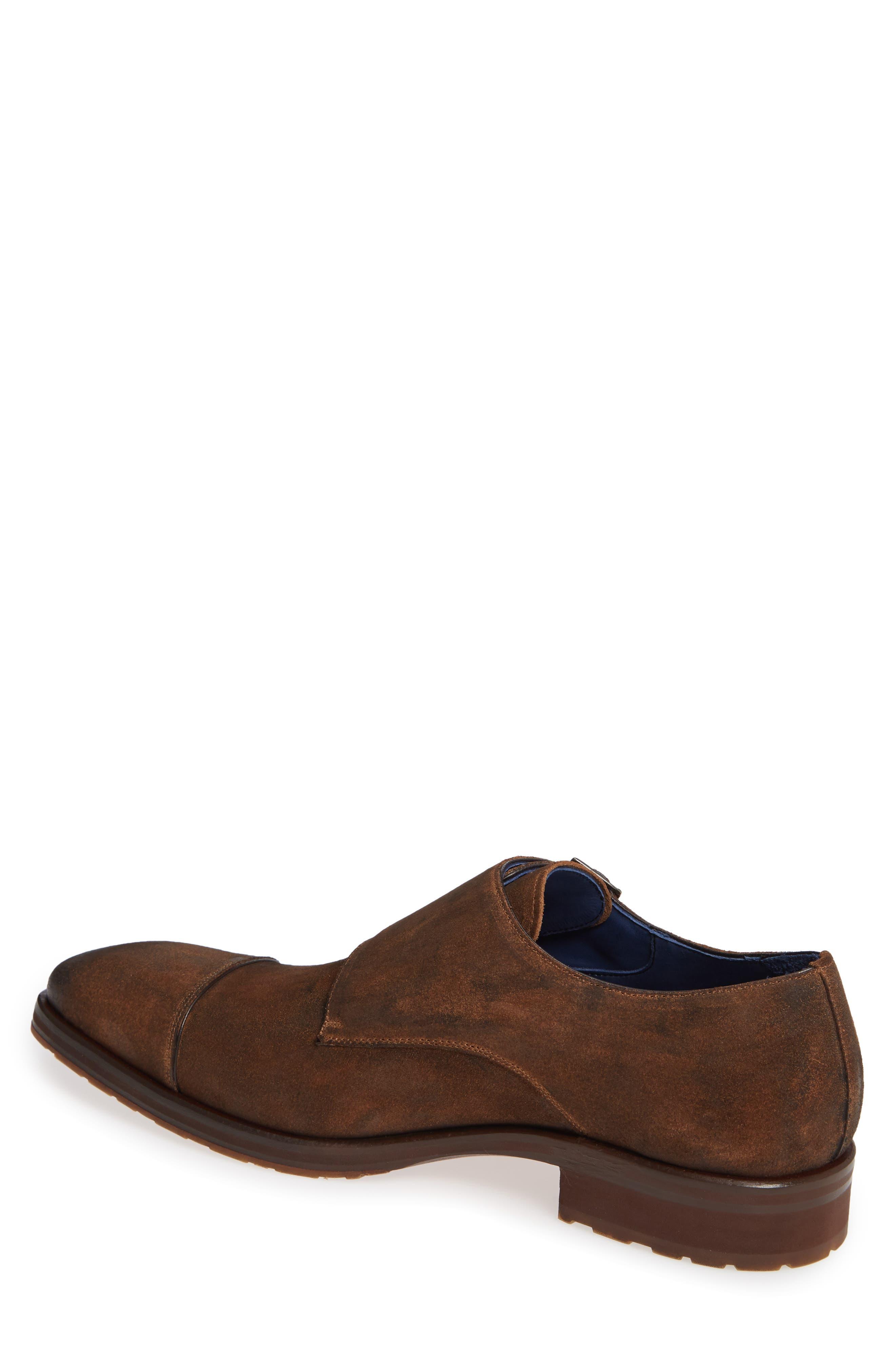 Miguel Double Monk Strap Shoe,                             Alternate thumbnail 2, color,                             TAN SUEDE