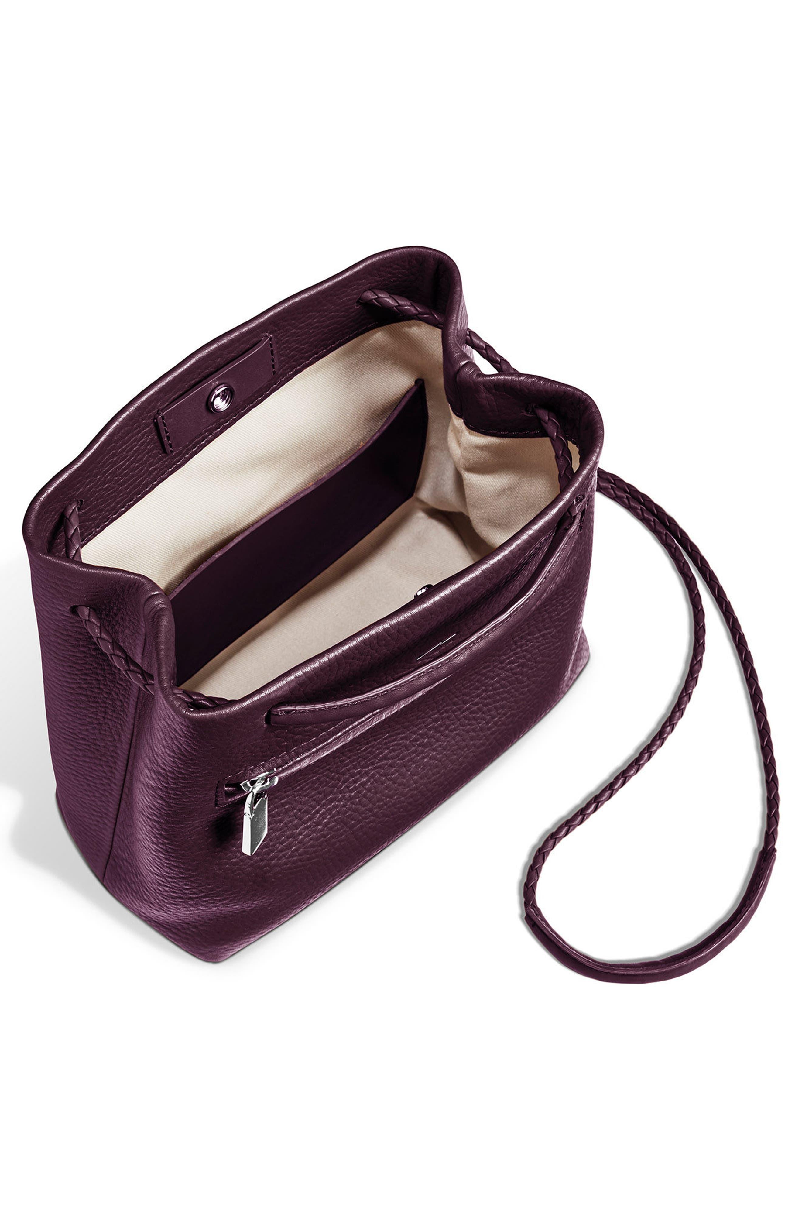 Mini Pebbled Leather Drawstring Crossbody Bag,                             Alternate thumbnail 6, color,