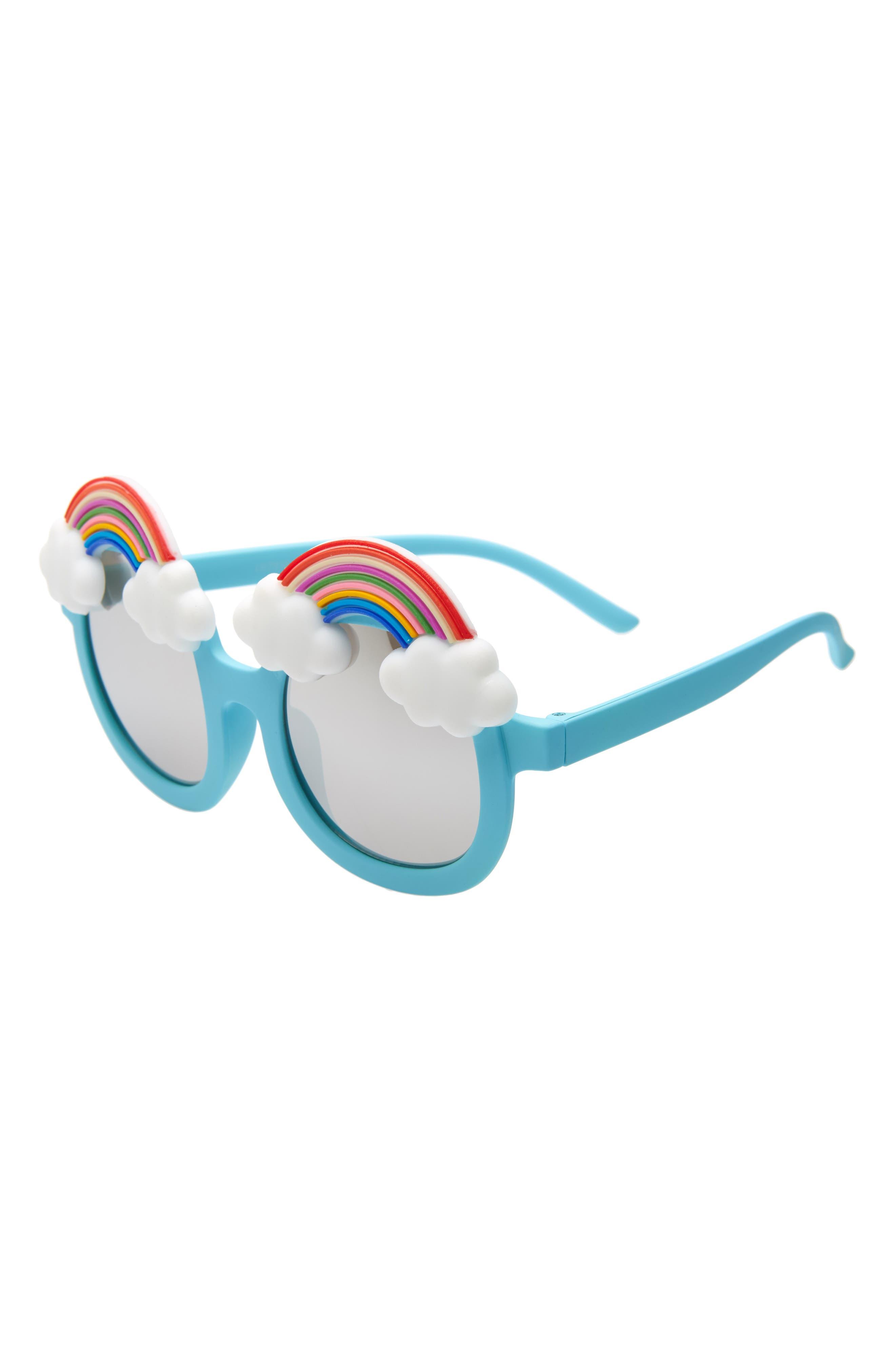 Rainbow Mirrored Sunglasses, Main, color, BLUE