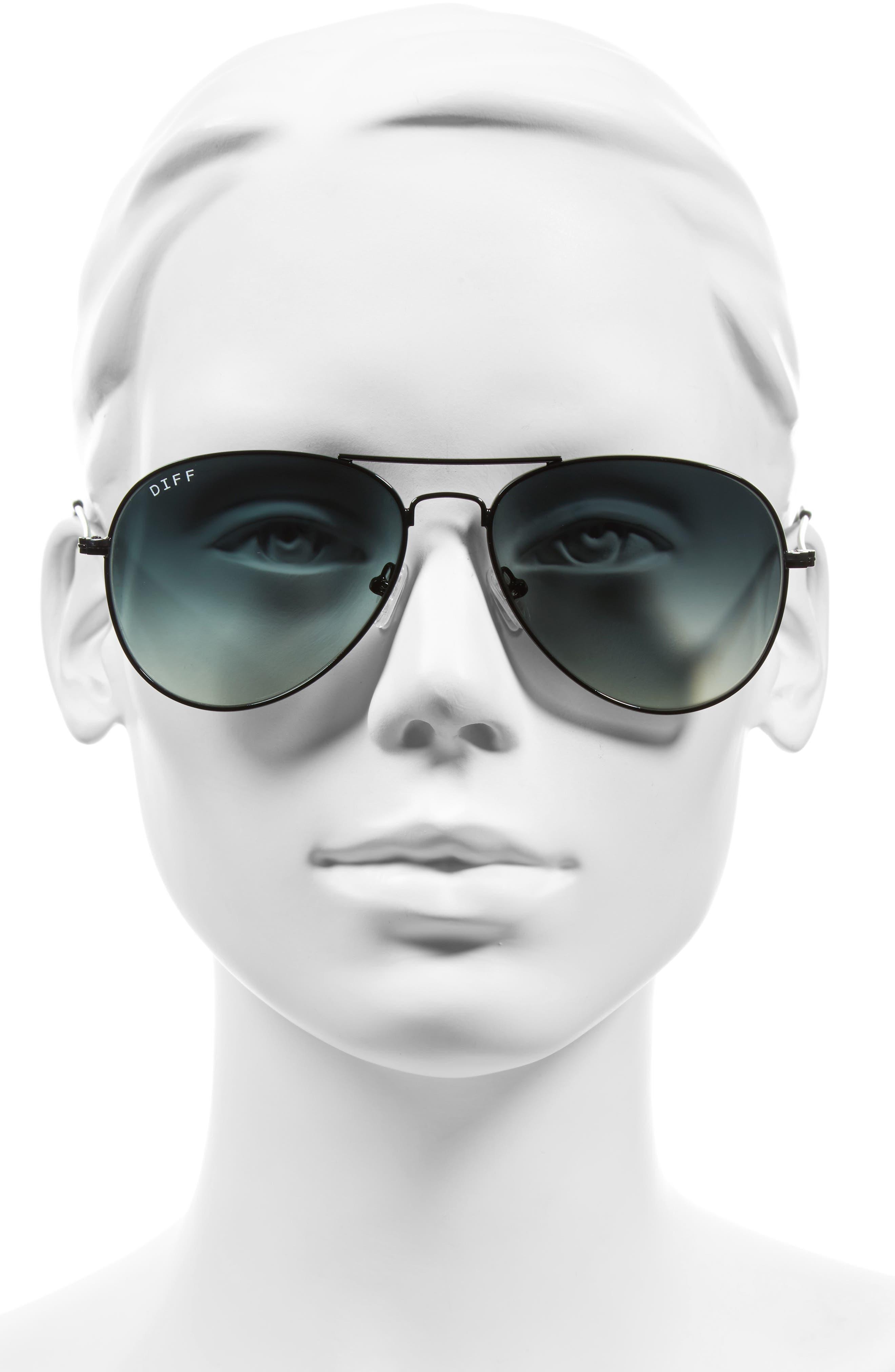 Cruz 57mm Metal Aviator Sunglasses,                             Alternate thumbnail 3, color,                             BLACK/ GREY