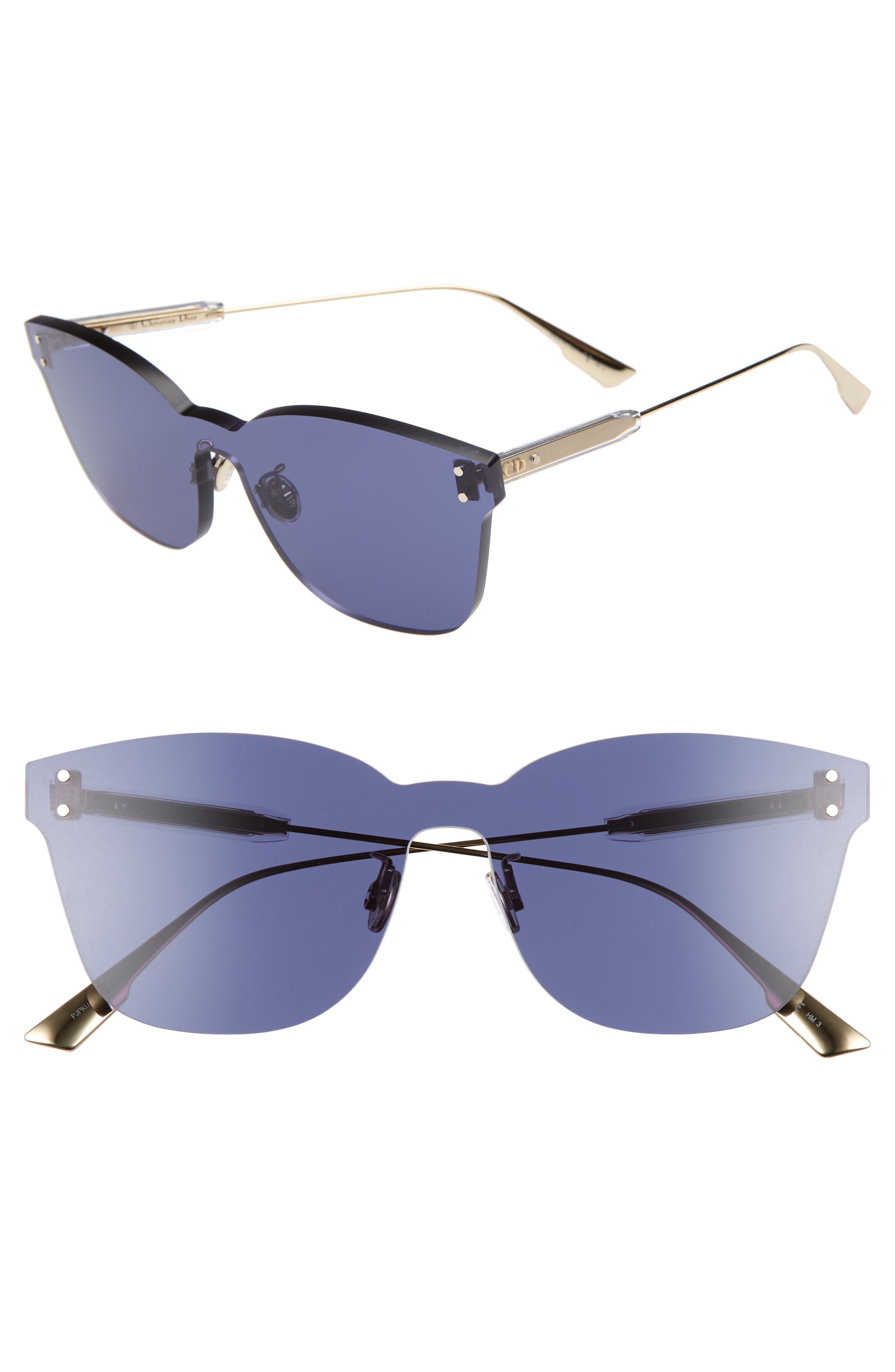 Christian Dior Quake2 135Mm Rimless Shield Sunglasses - Blue