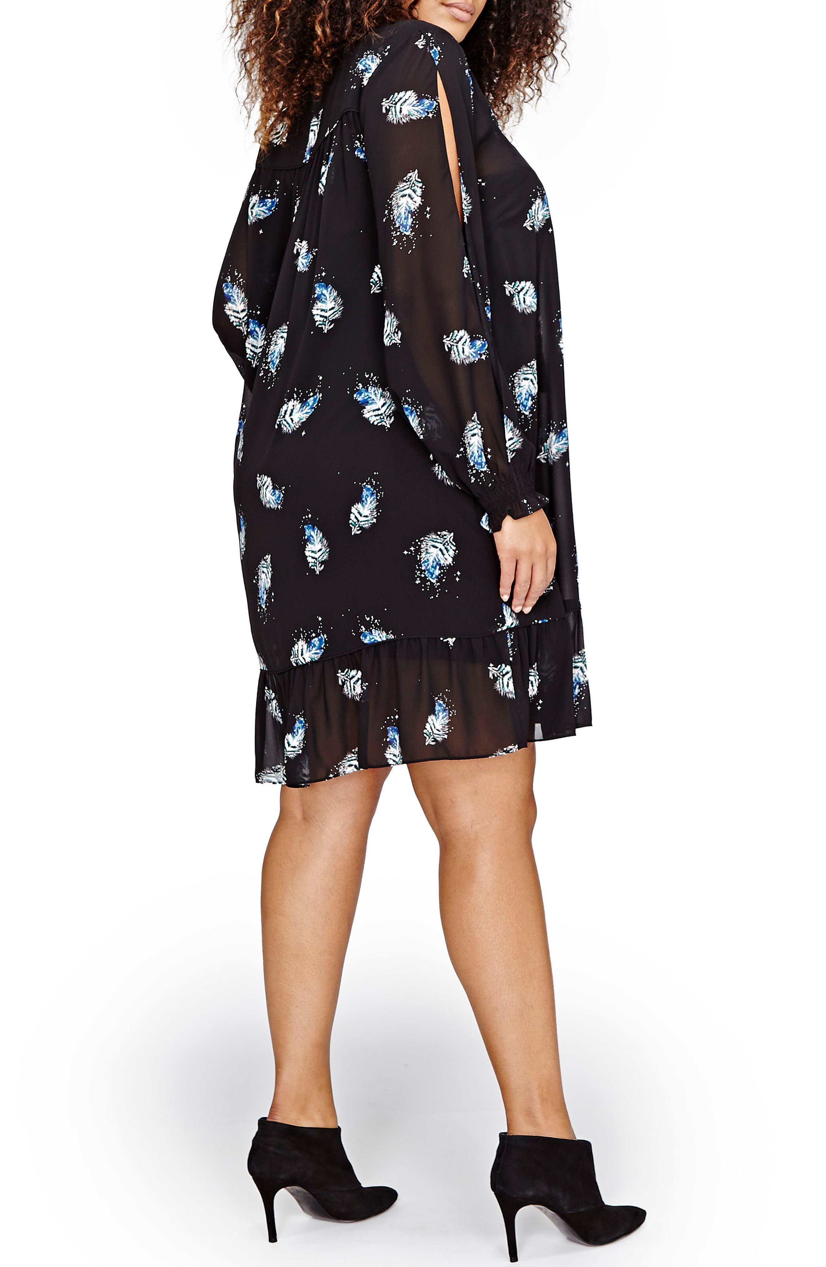 Lace-Up Print Dress,                             Alternate thumbnail 2, color,