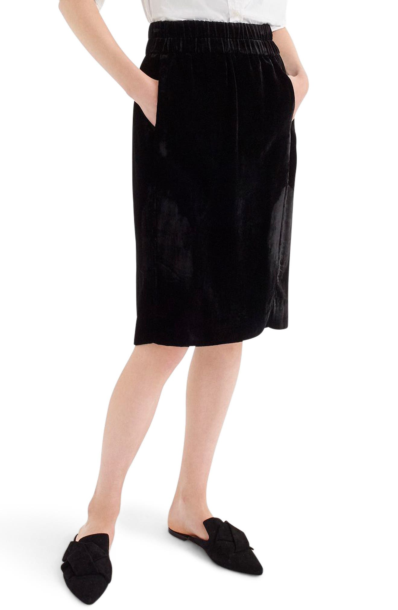 Pull-On Velvet Skirt, Main, color, BLACK