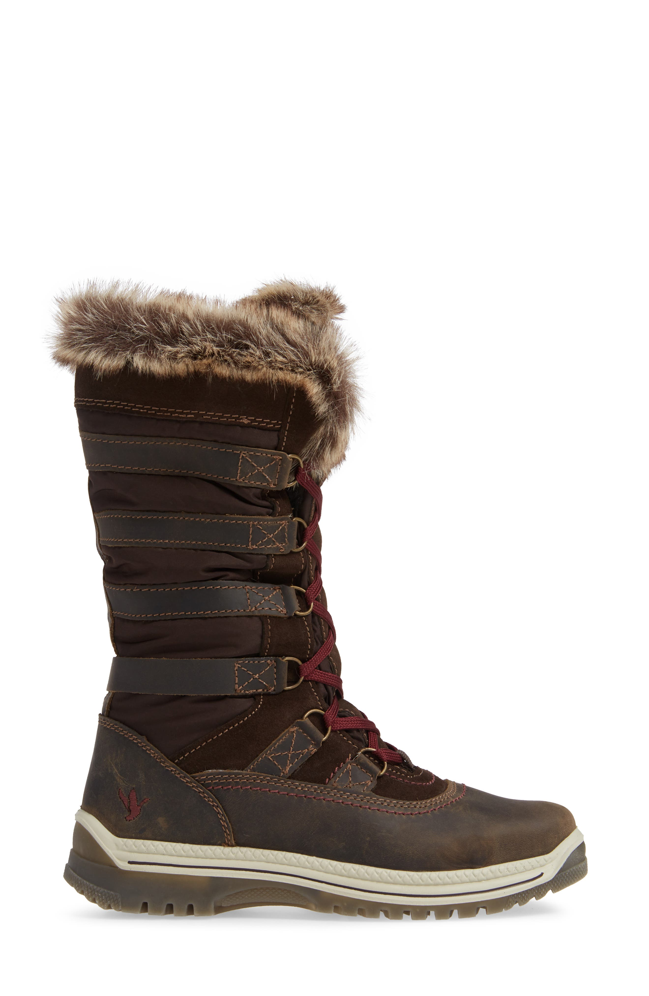 Milani Waterproof Faux Fur Boot,                             Alternate thumbnail 3, color,                             BROWN / BROWN LEATHER