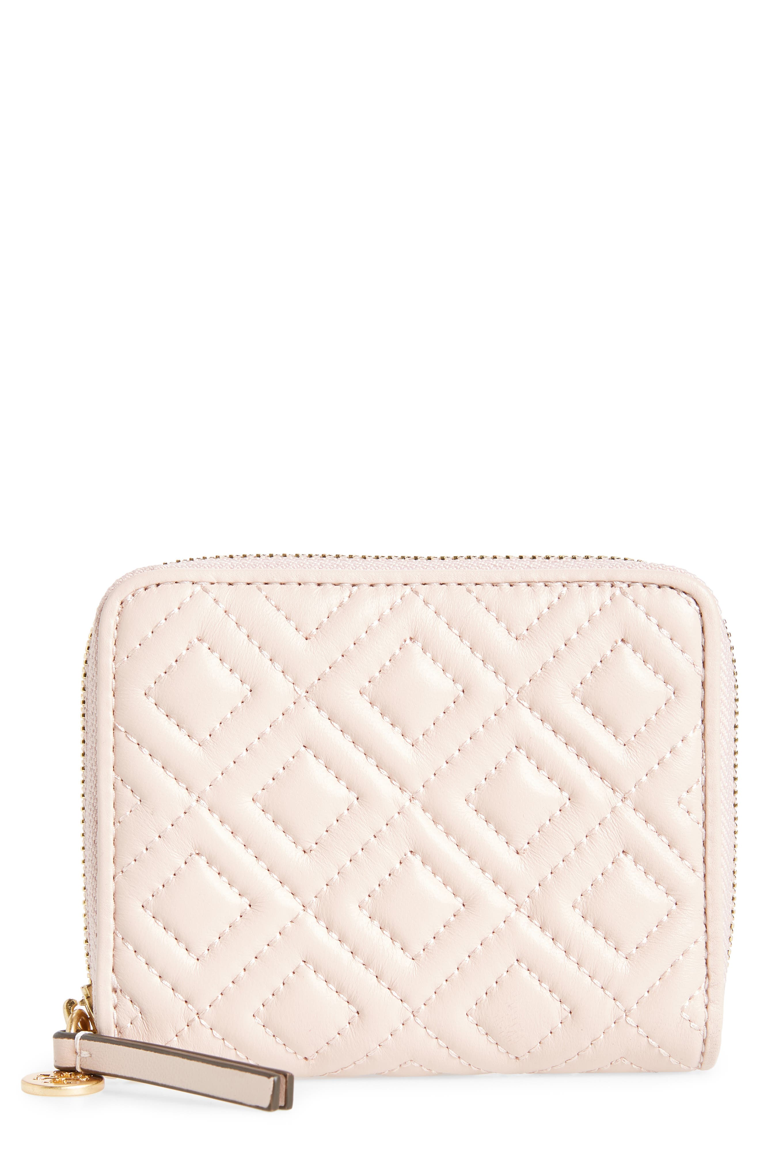 Fleming Medium Leather Zip Around Wallet,                         Main,                         color, SHELL PINK