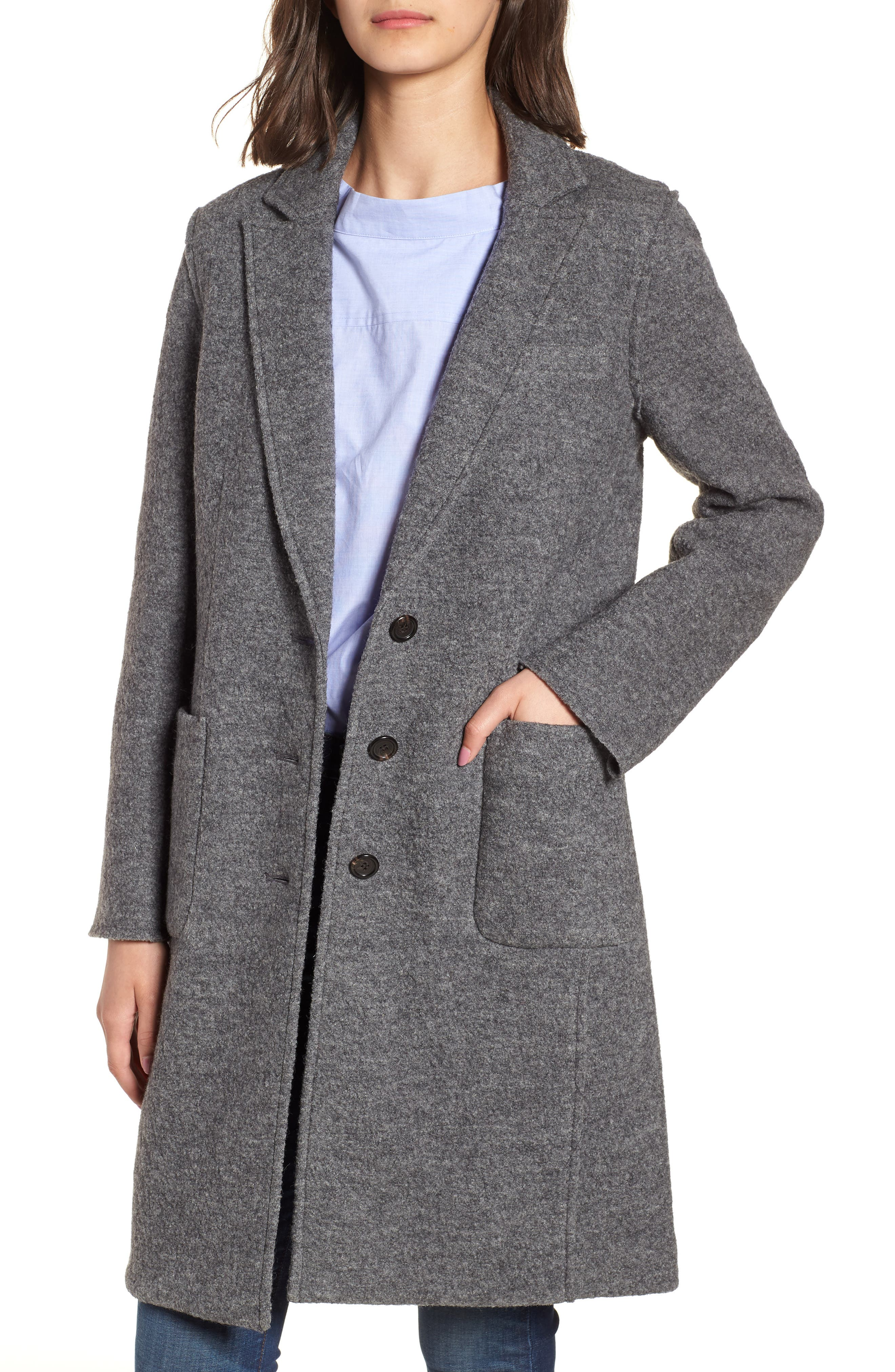 History of 1920s Coats, Furs and Capes Womens J.crew Olga Boiled Wool Topcoat Size 8 - Grey $119.90 AT vintagedancer.com