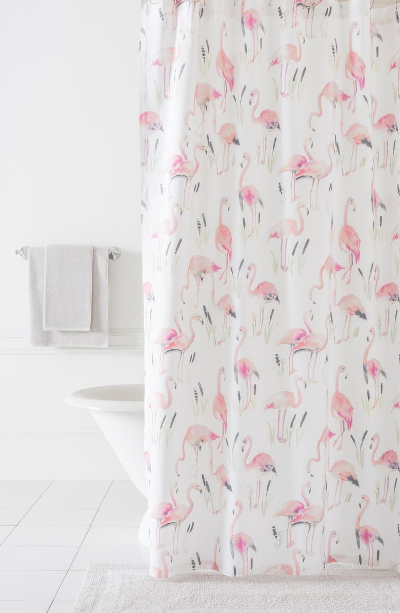 PINE CONE HILL Flamingos Shower Curtain Main Color PINK