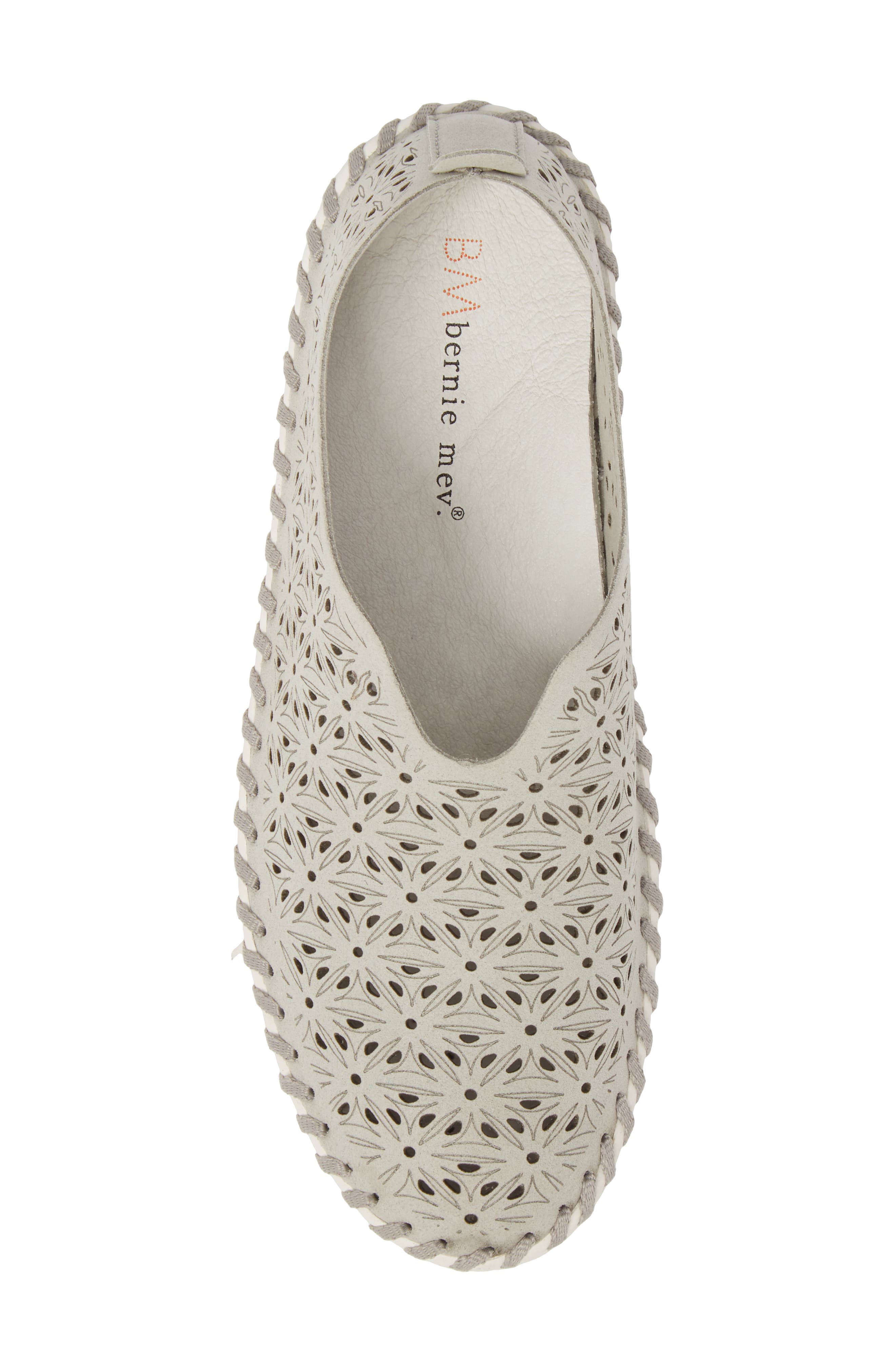 Perforated Slip-On Flat,                             Alternate thumbnail 5, color,                             LIGHT GREY LEATHER