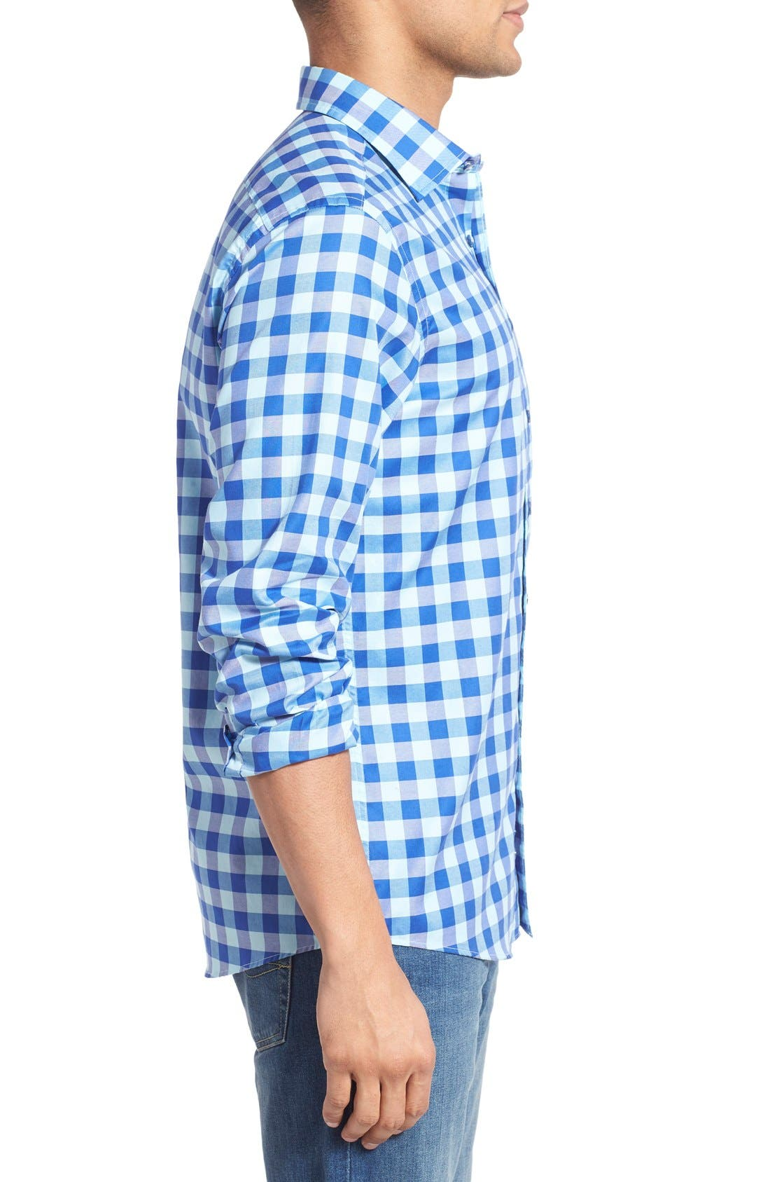 'Branston' Sports Fit Check Sport Shirt,                             Alternate thumbnail 3, color,                             456