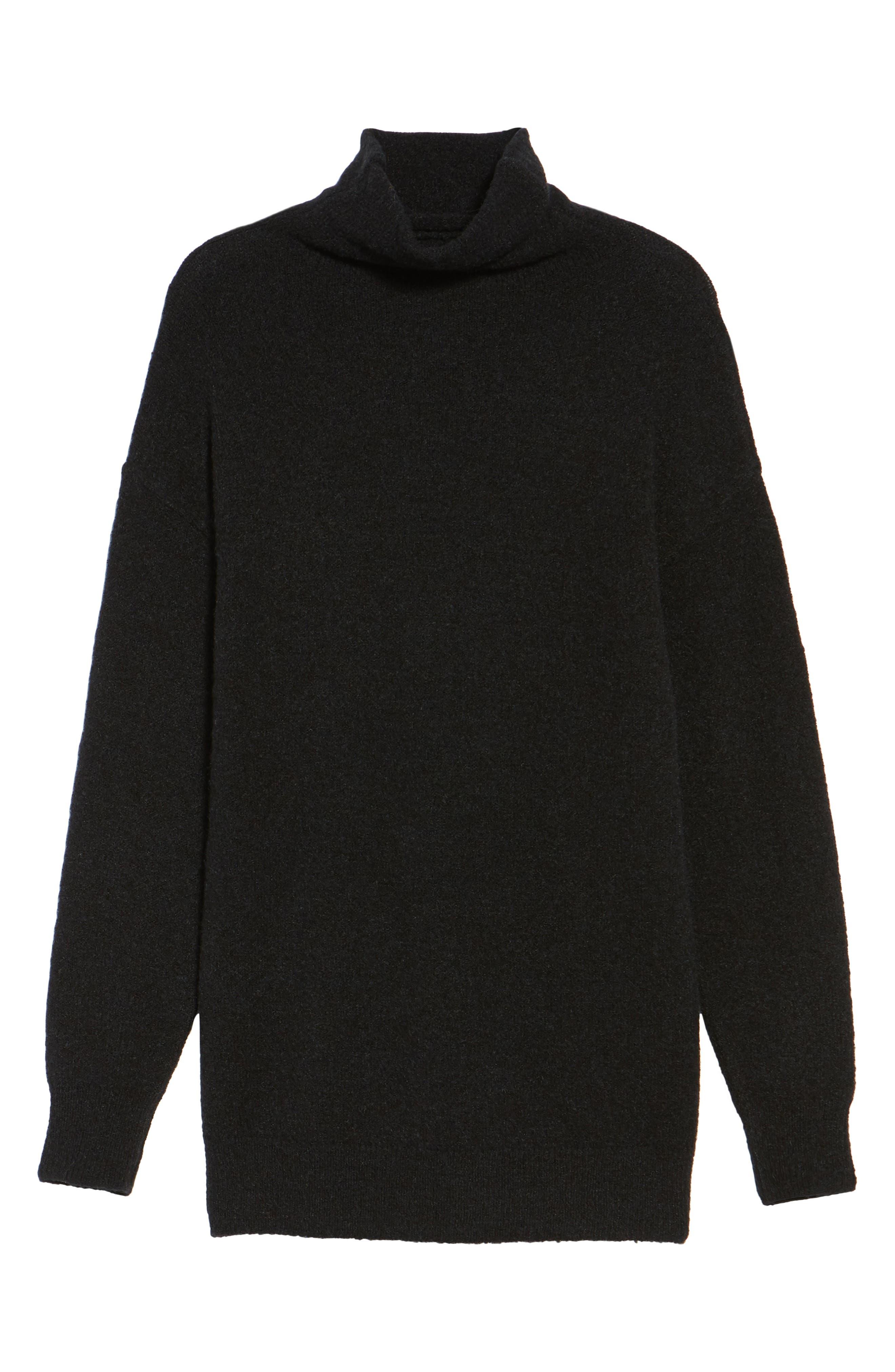 Bouclé Turtleneck Tunic Sweater,                             Alternate thumbnail 6, color,                             001