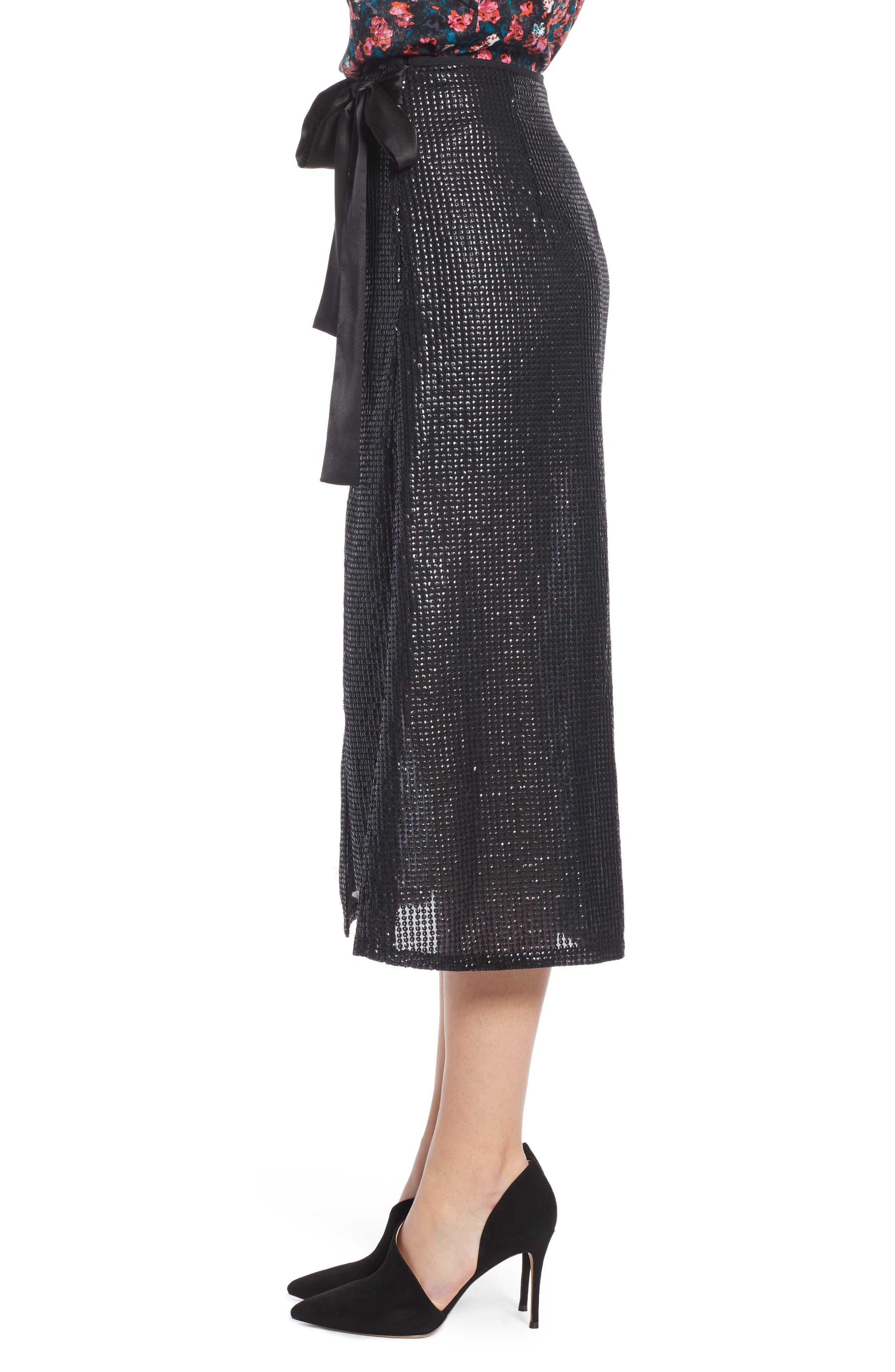 Wrap Sequin Midi Skirt,                             Alternate thumbnail 3, color,                             BLACK SEQUIN