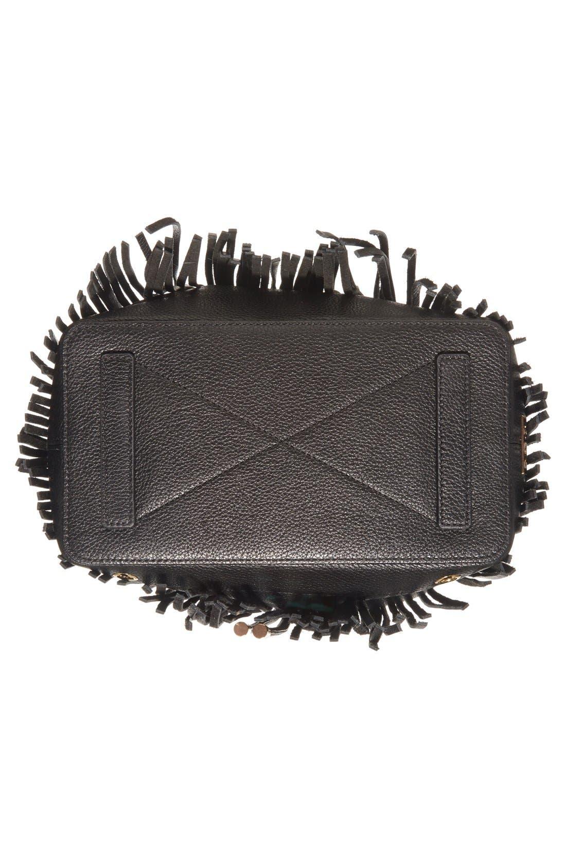 'Essex' Fringed Leather Bucket Bag,                             Alternate thumbnail 4, color,                             001