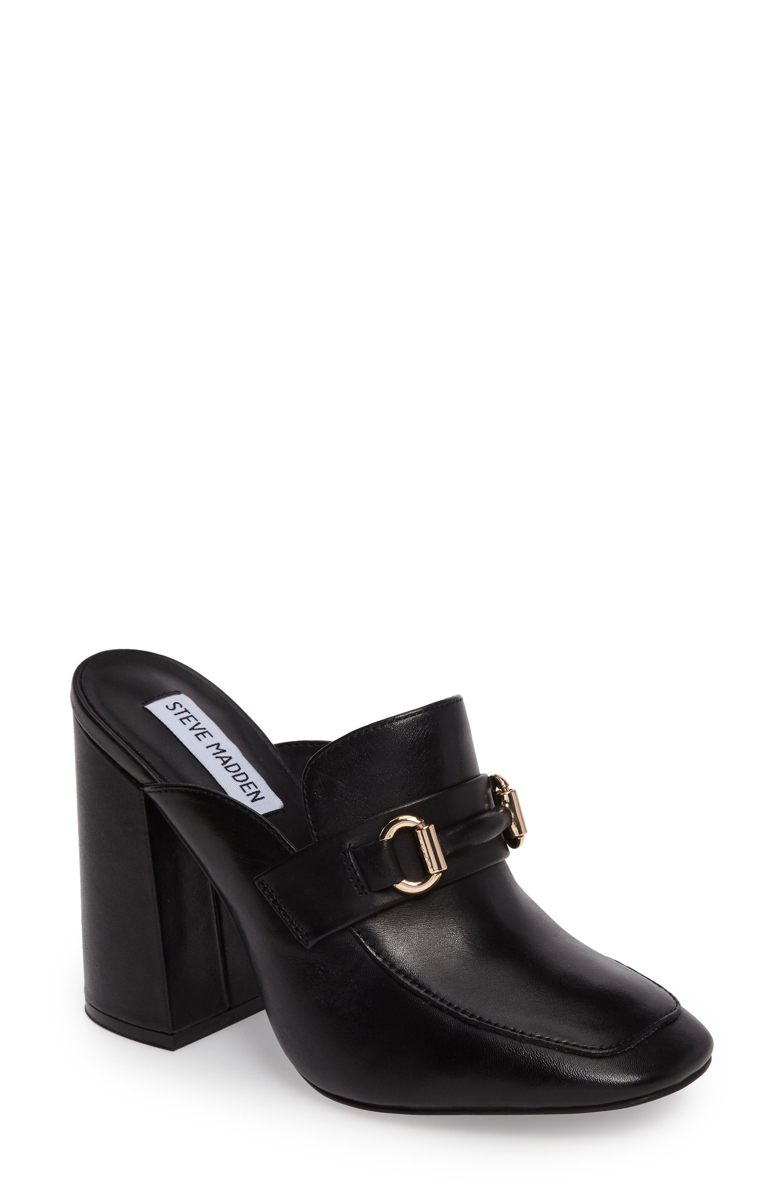 Chuckie Flared Heel Loafer Mule,                         Main,                         color, 001