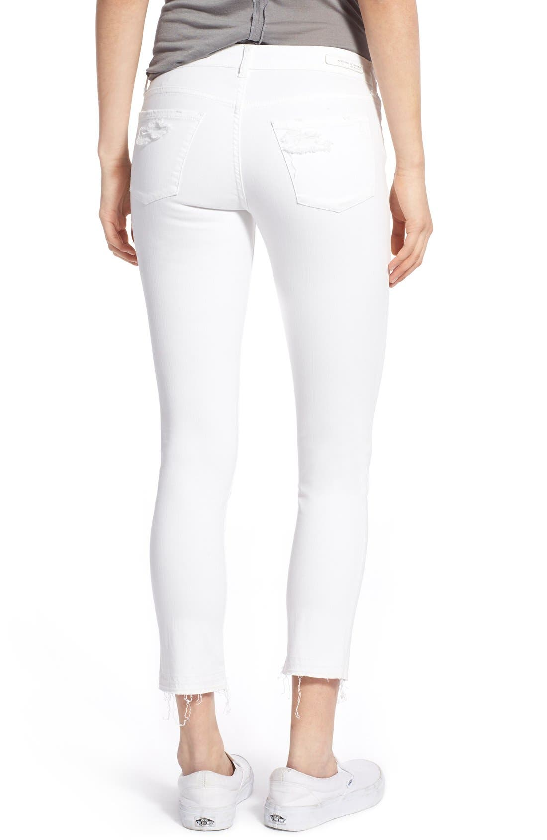 'Carly' Frayed Hem Crop Skinny Jeans,                             Alternate thumbnail 5, color,                             110