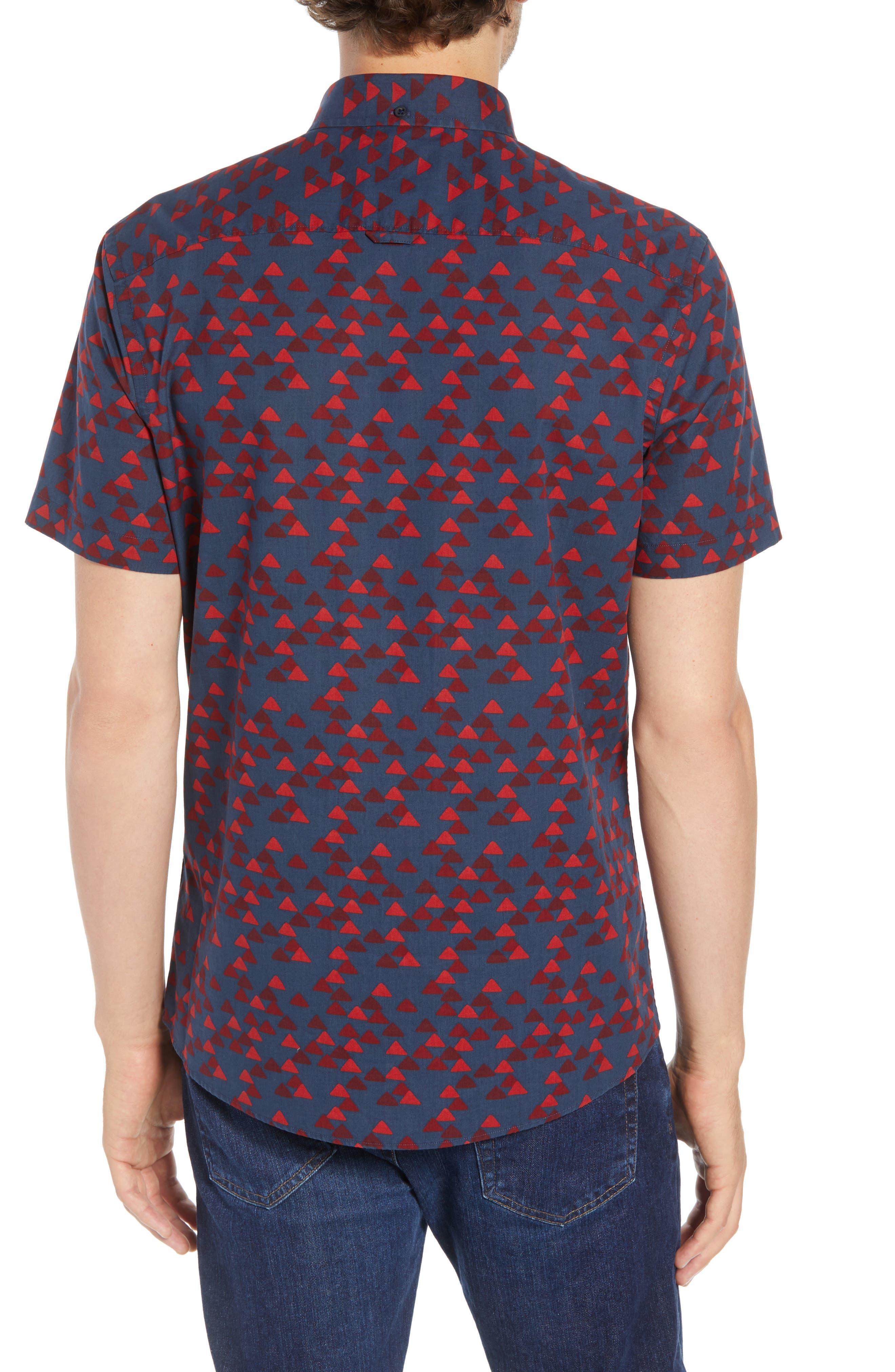 Ivy Trim Fit Print Sport Shirt,                             Alternate thumbnail 2, color,                             NAVY IRIS BURGUNDY TRIANGLES