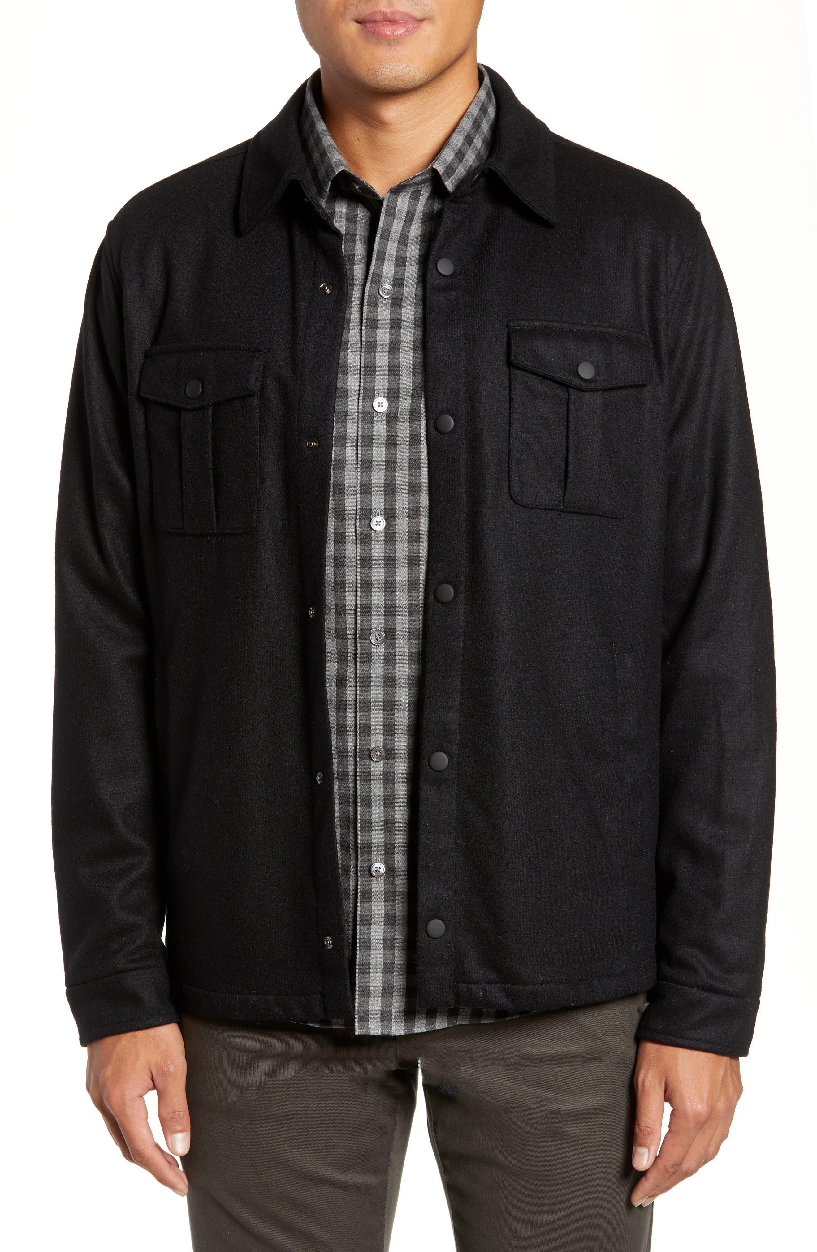 ZACHARY PRELL Seymour Regular Fit Wool Blend Shirt Jacket in Black