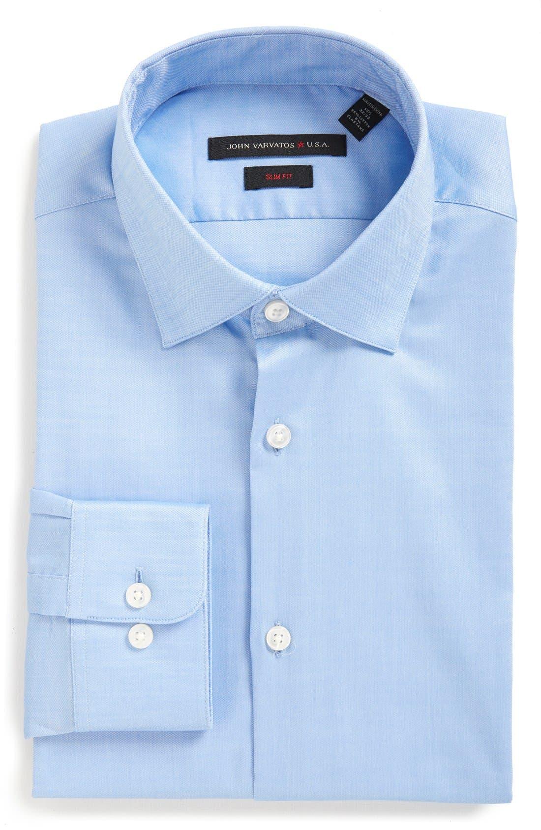 Soho Slim Fit Stretch Solid Dress Shirt,                             Main thumbnail 1, color,                             ATLANTIC BLUE