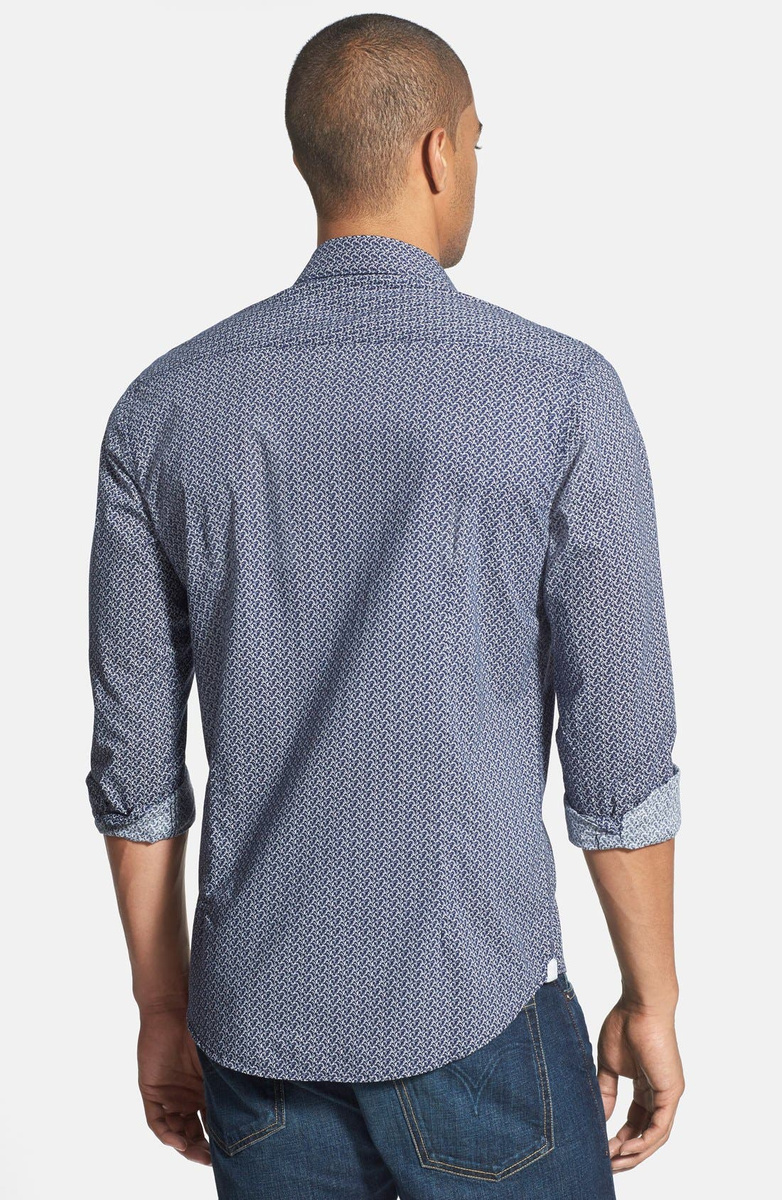 'Blueberry Hill' Trim Fit Print Woven Shirt,                             Alternate thumbnail 2, color,                             410