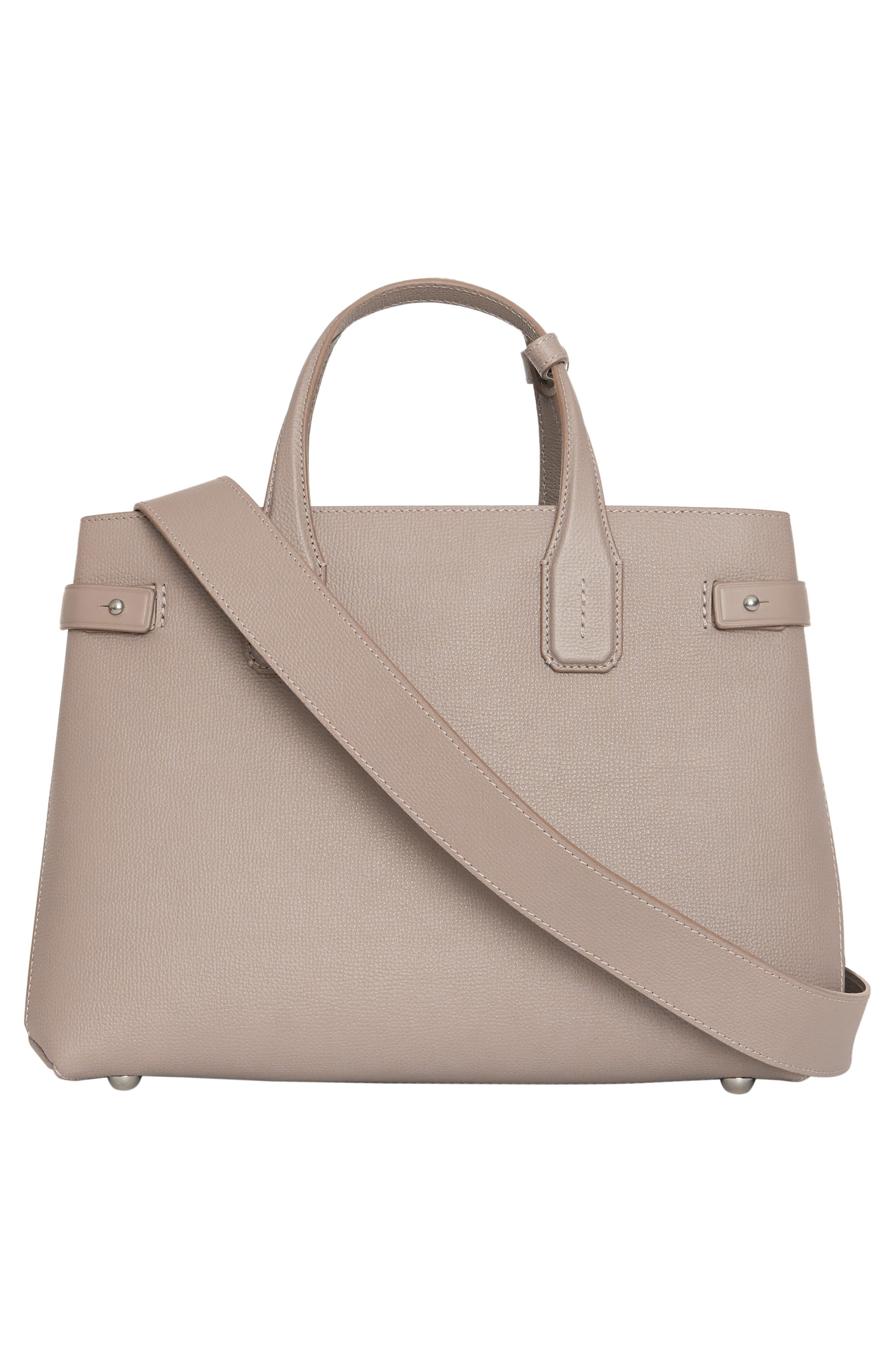 Medium Banner Leather Tote,                             Alternate thumbnail 3, color,                             TAUPE BROWN
