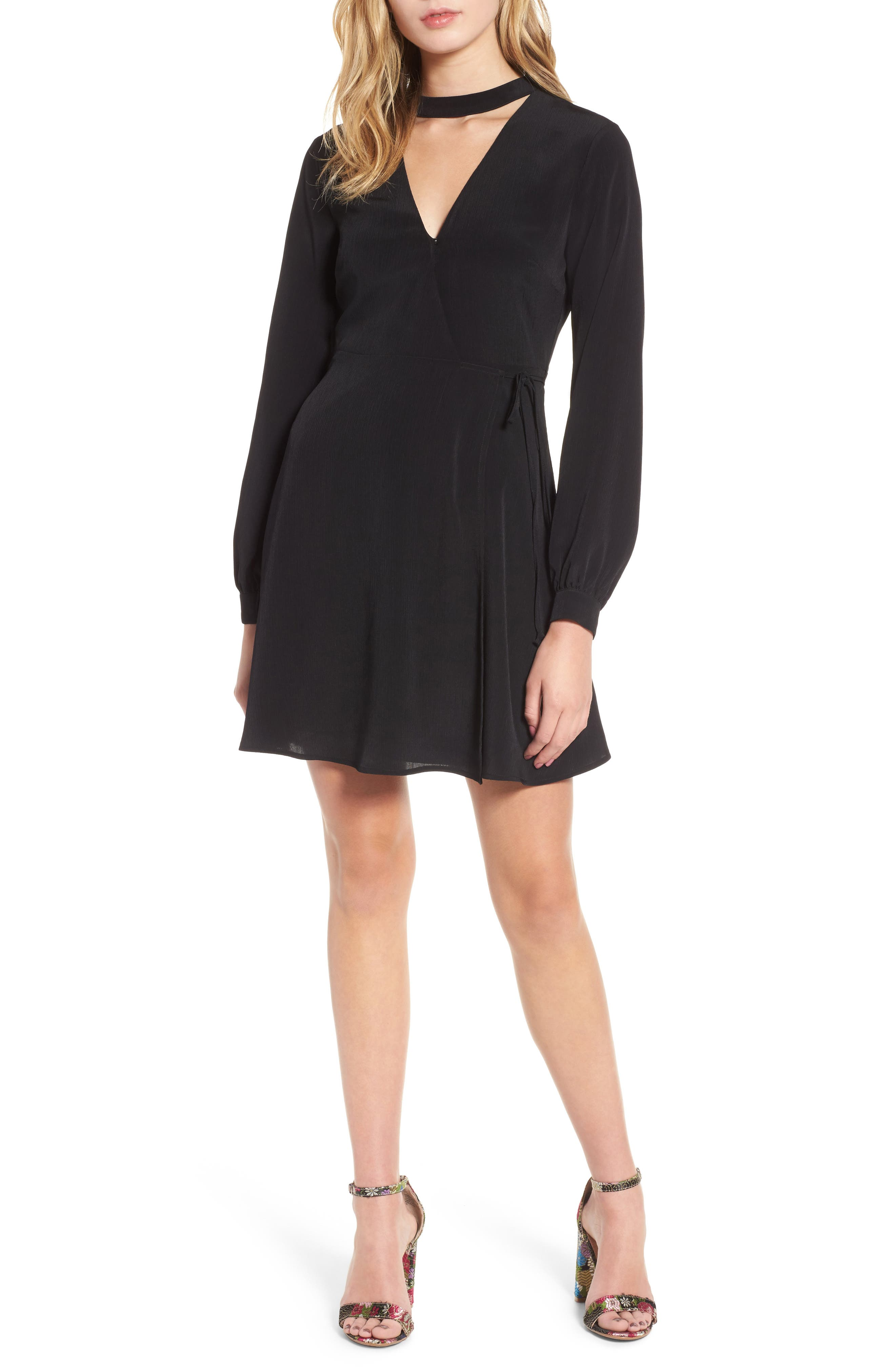 Choker Neck Wrap Dress,                         Main,                         color, 001
