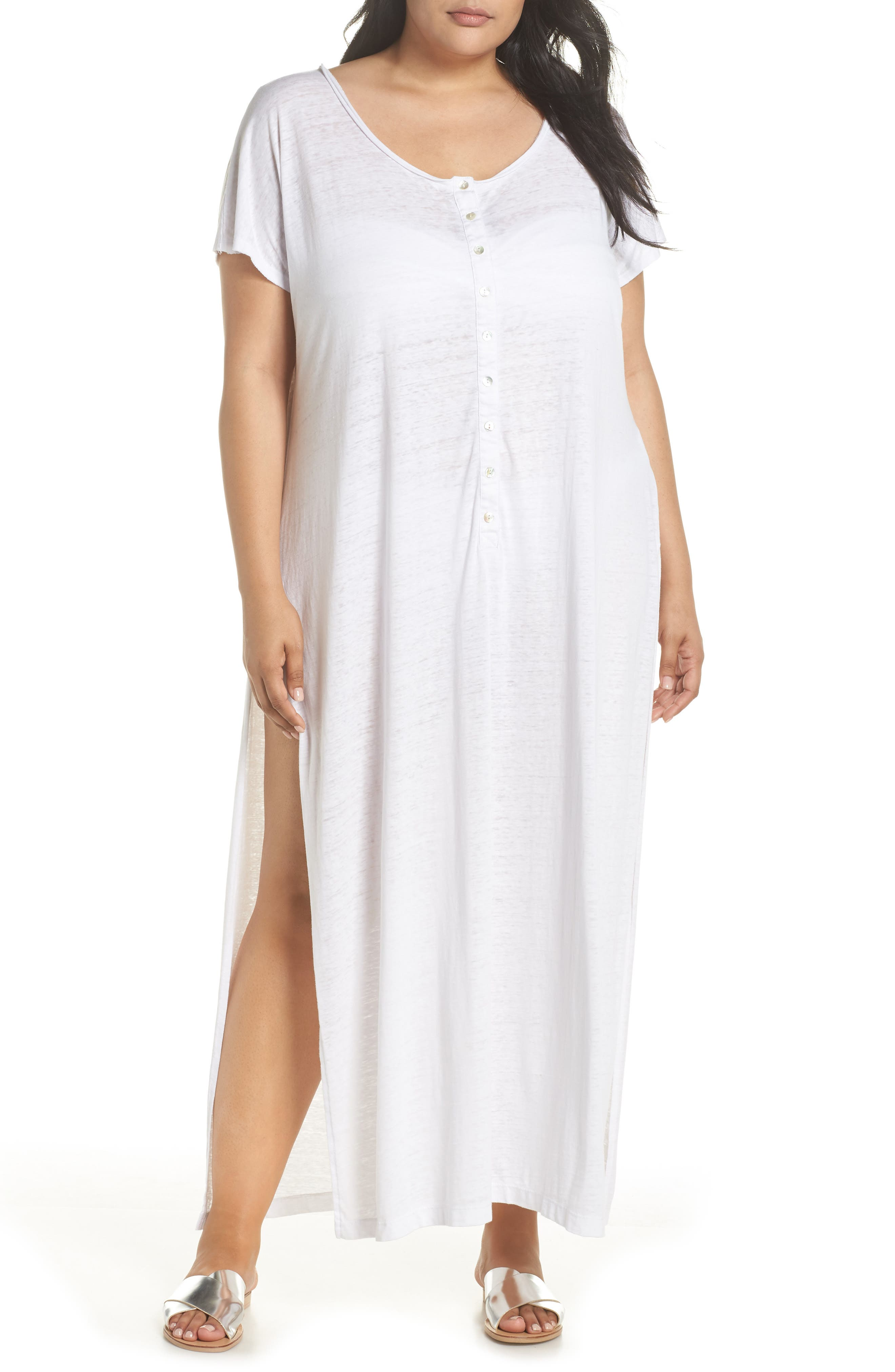 Henley Cover-Up Dress,                         Main,                         color, WHITE