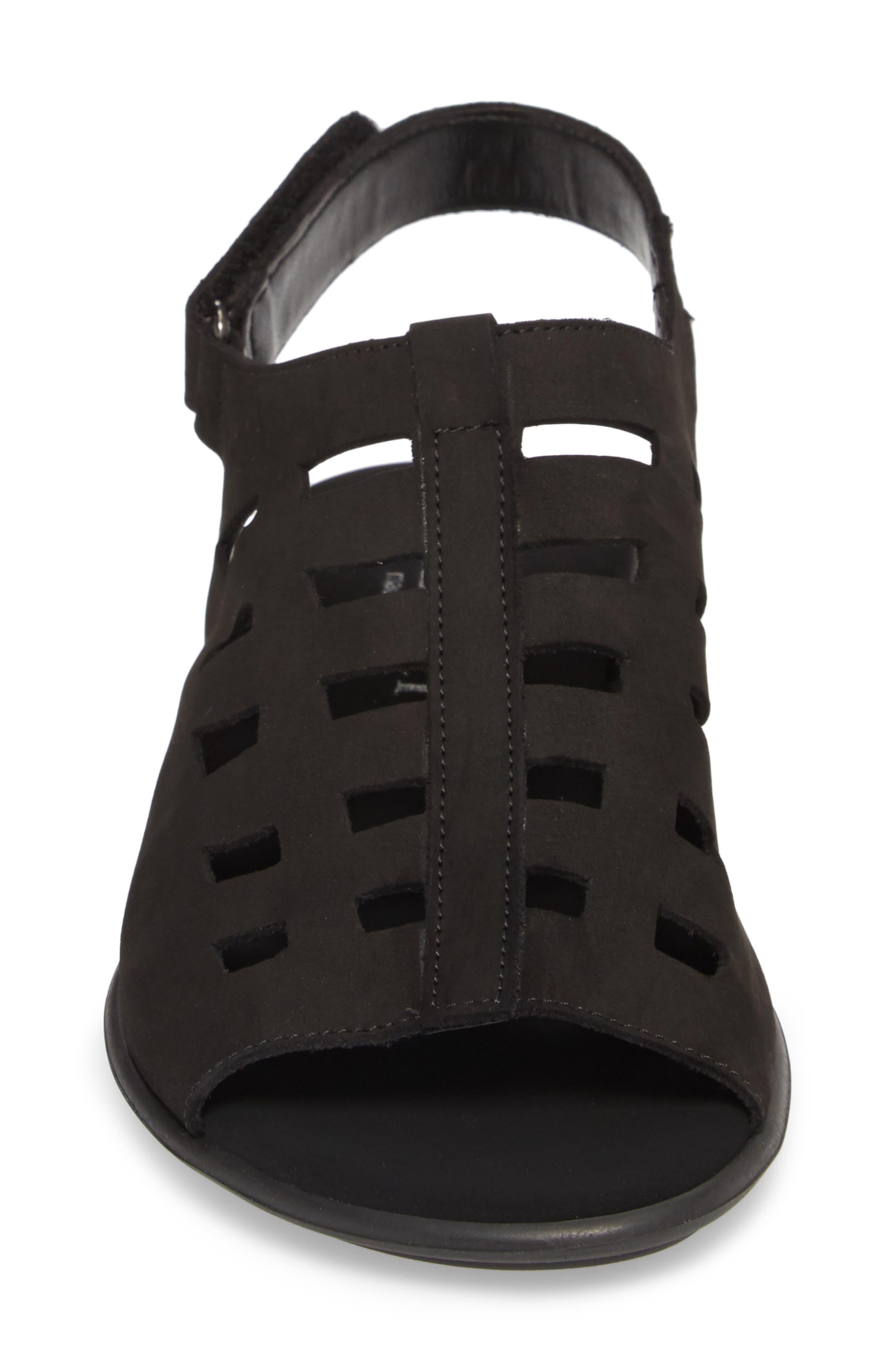 Elita Cutout Slingback Sandal,                             Alternate thumbnail 4, color,                             BLACK NUBUCK