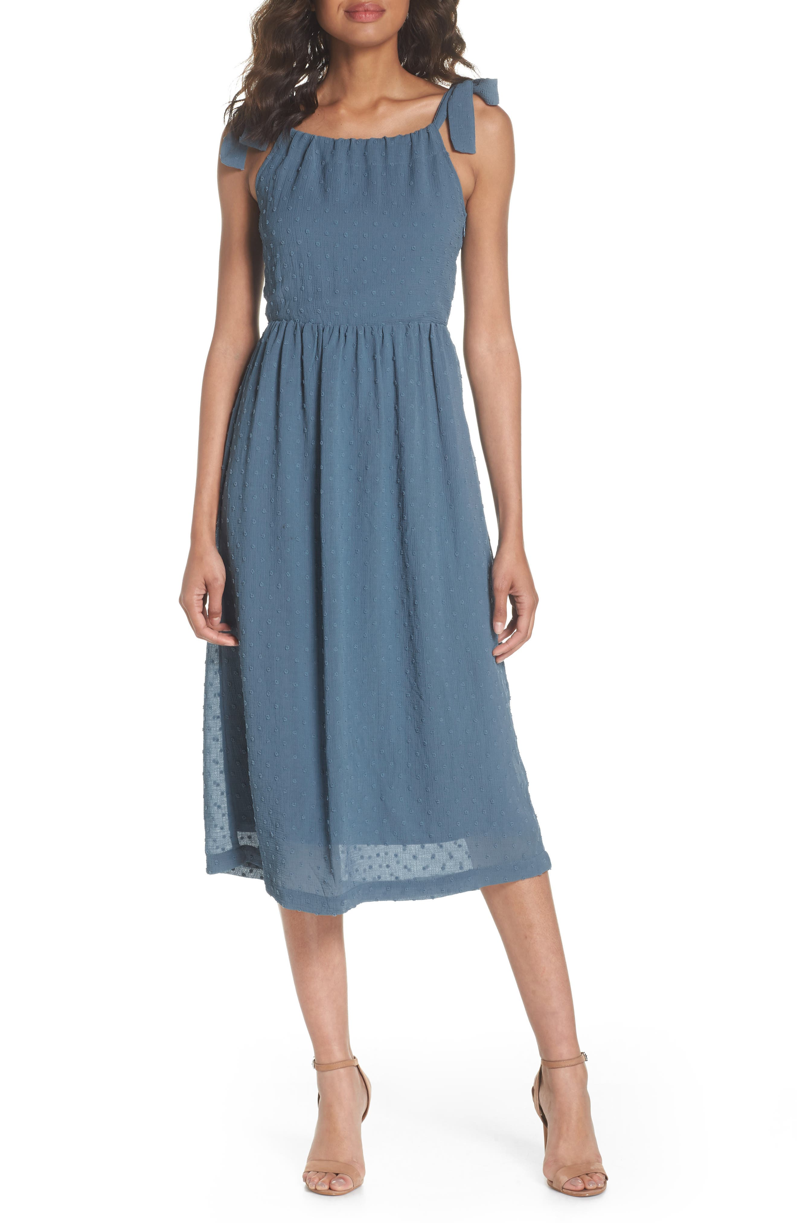 Tie Shoulder Midi Dress,                         Main,                         color, 400