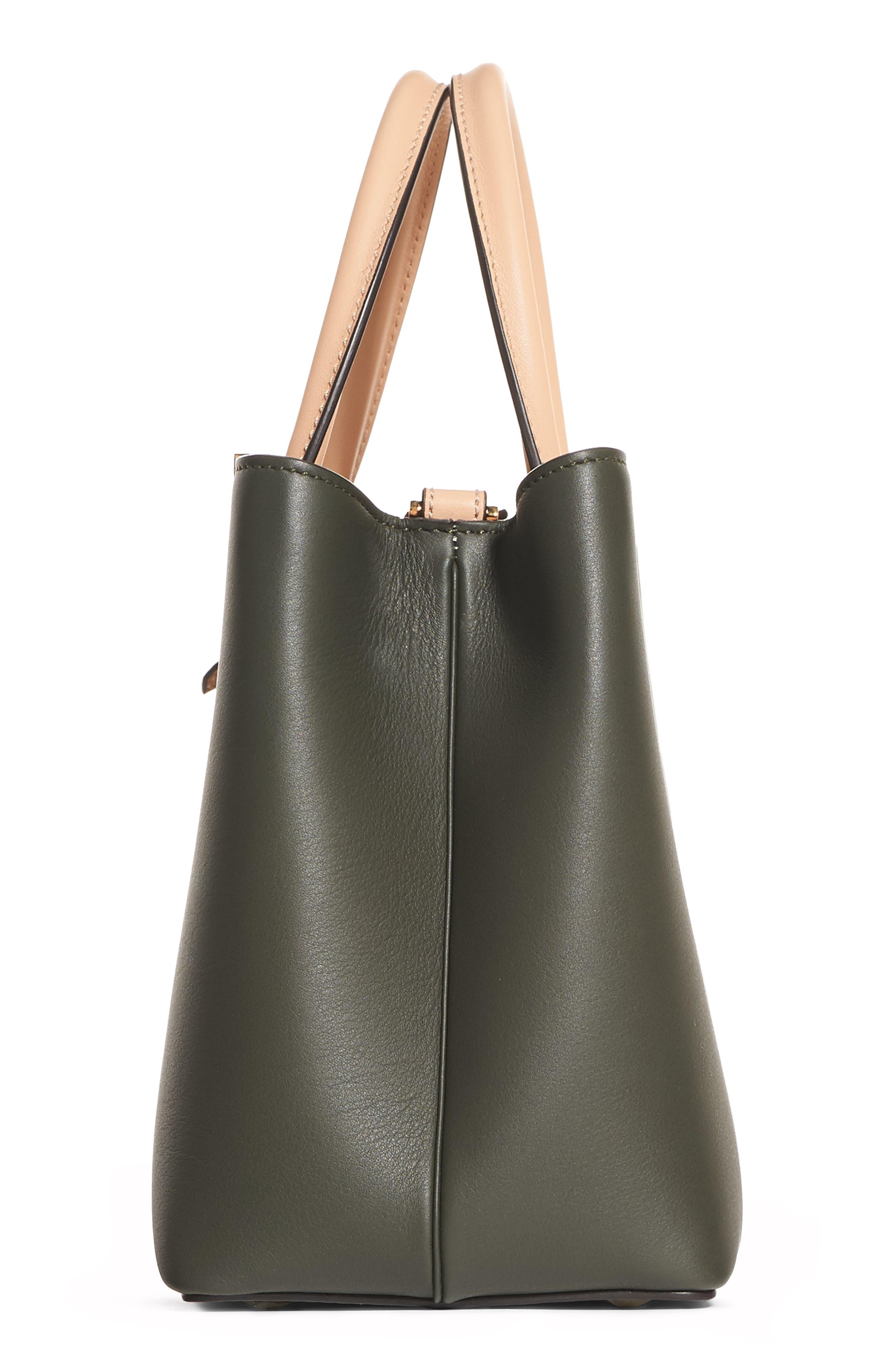 Petite 2Jours Leather Shopper,                             Alternate thumbnail 4, color,                             GREEN GRASS/MAKEUP