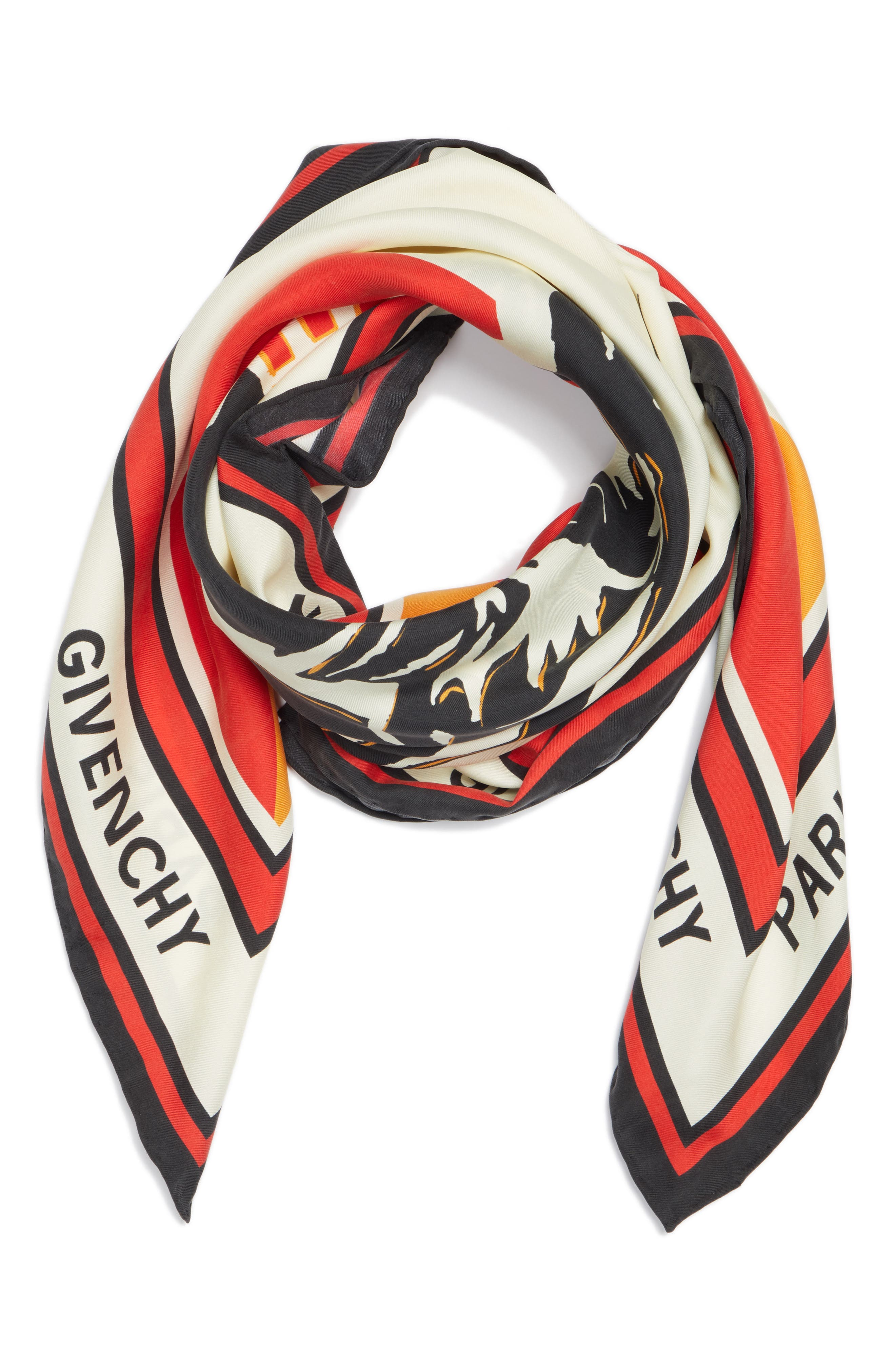 Catwings Silk Twill Scarf,                             Alternate thumbnail 3, color,                             WHITE/ RED